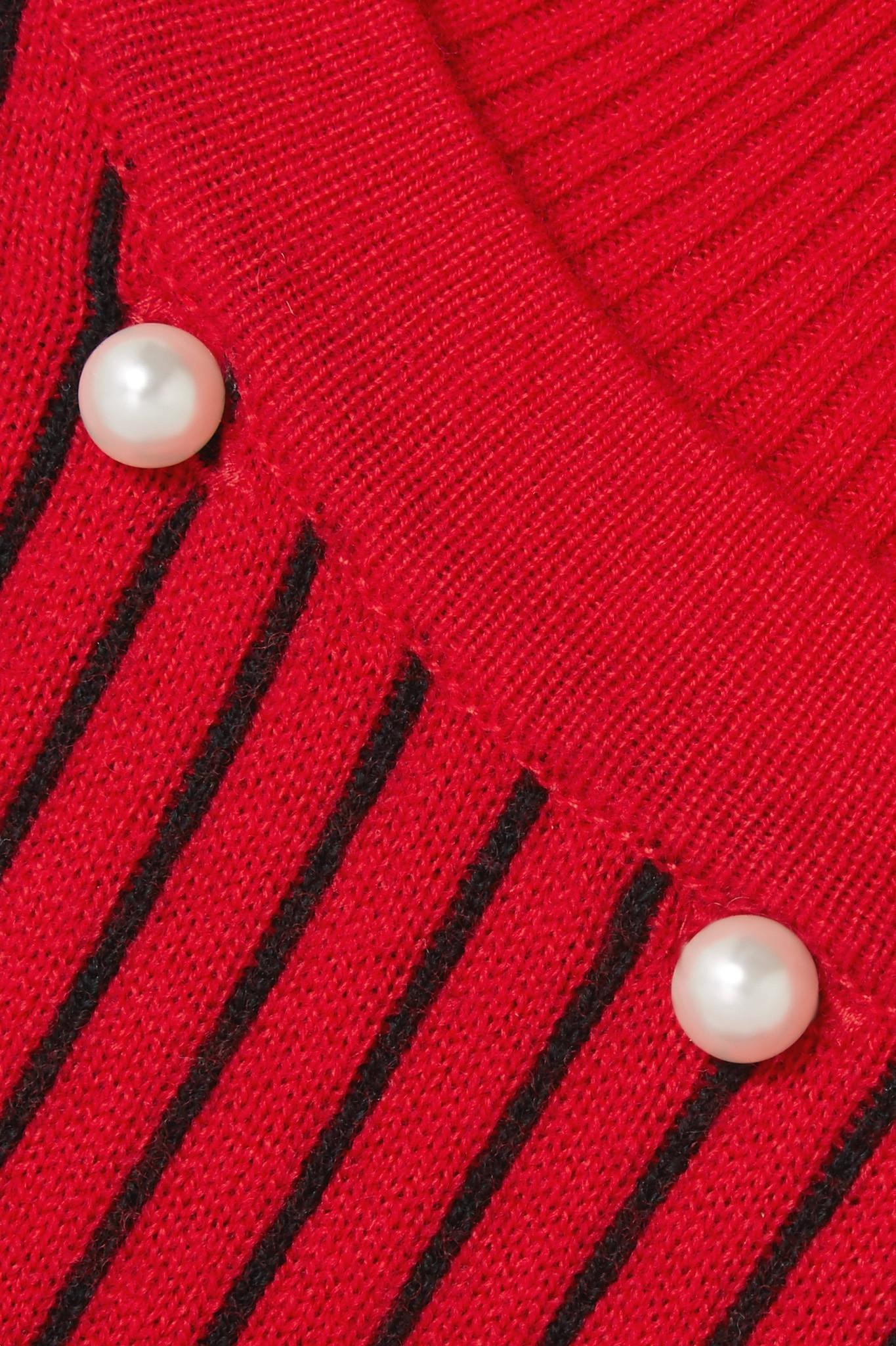 convertible perlas de jacquard lana apertura Ceremonia cisne con de con adornado de cuello de Suéter imitación roja 76qUnz