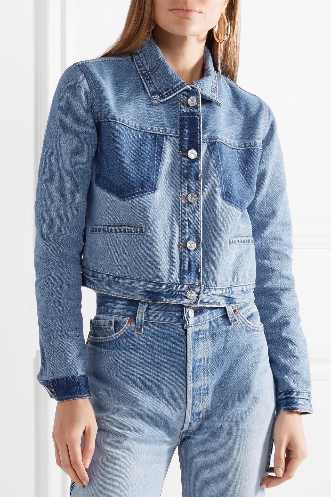 f203044c0412 Lyst - RE DONE + Levi s Cropped Two-tone Denim Jacket in Blue