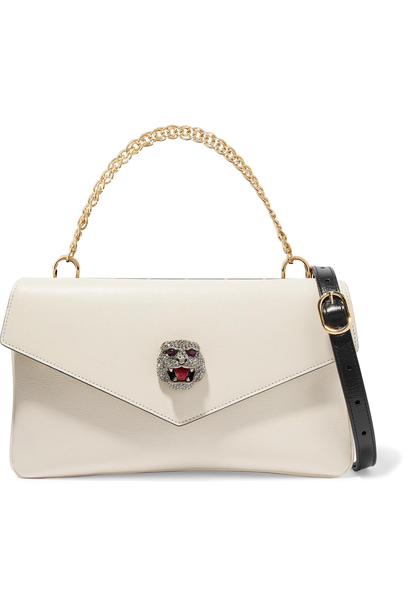 31199e554 Gucci Thiara Embellished Printed Leather Shoulder Bag in White - Lyst