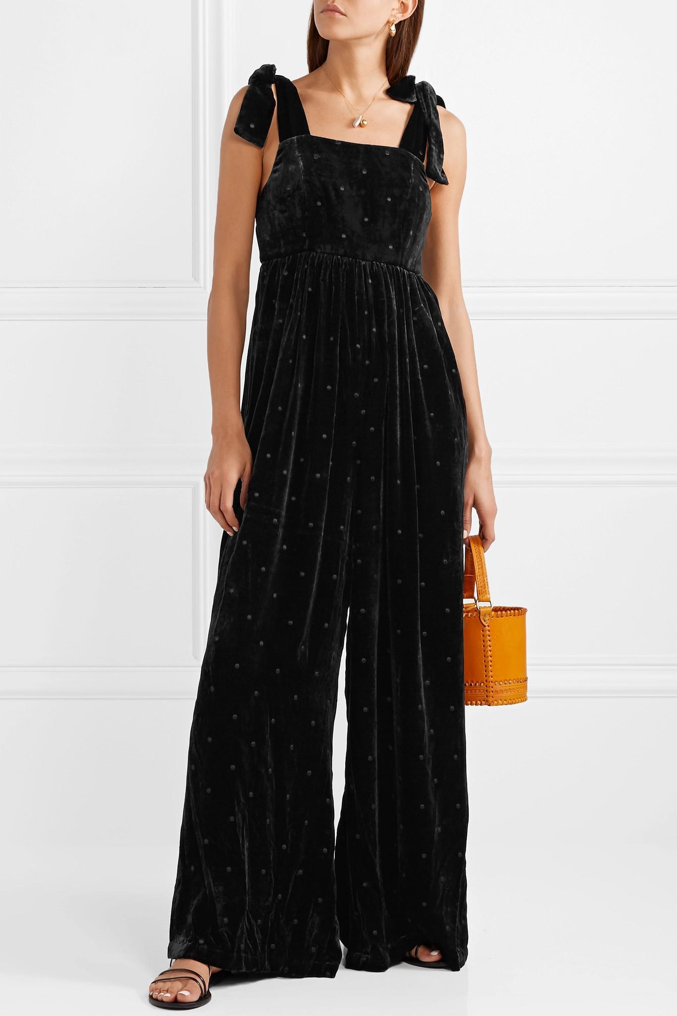 13b6168c8265 Ulla Johnson - Black Minnet Bow-embellished Swiss-dot Velvet Jumpsuit -  Lyst. View fullscreen