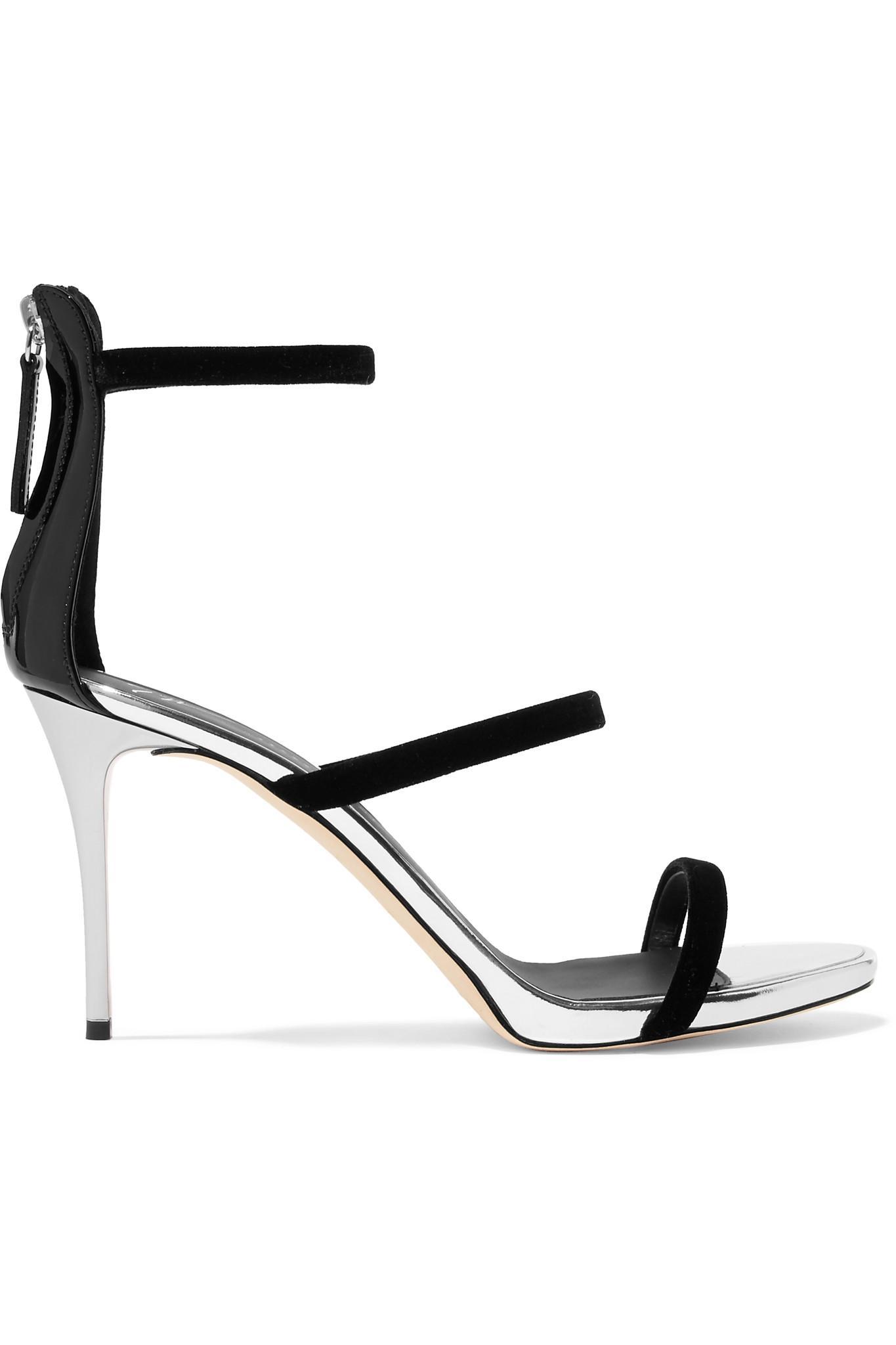 a45f925686d Lyst - Giuseppe Zanotti Alien Metallic Leather And Velvet Sandals in ...