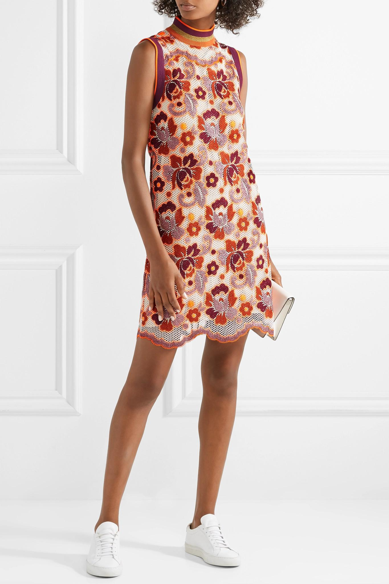 Crocheted Lace Mini Dress - Orange Burberry QBGPwen