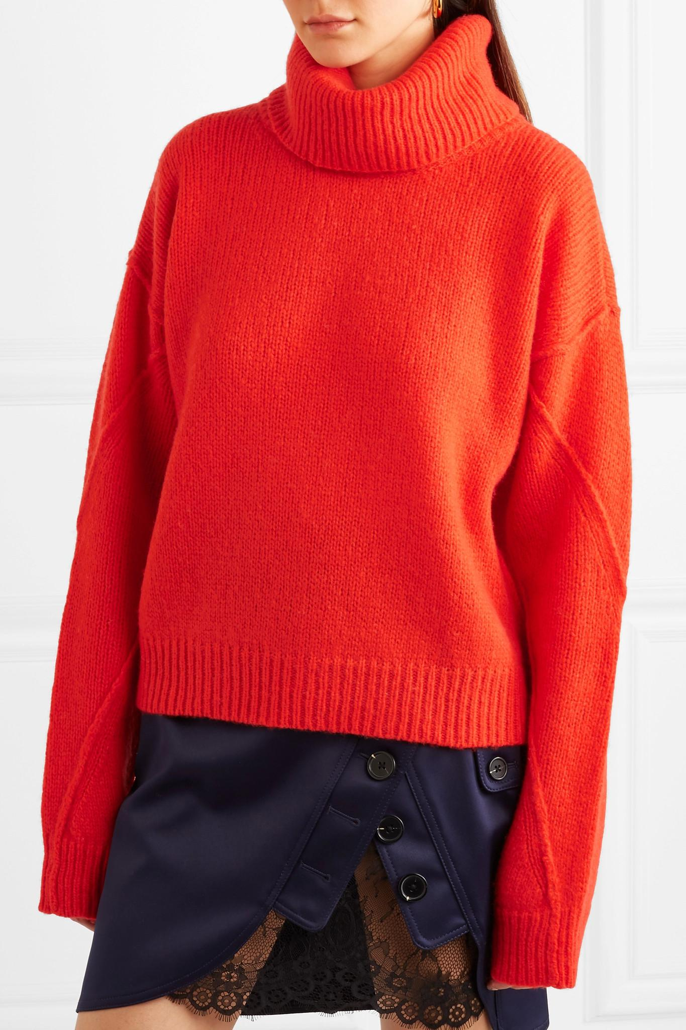 Tory burch Eva Convertible Oversized Wool-blend Turtleneck Sweater ...