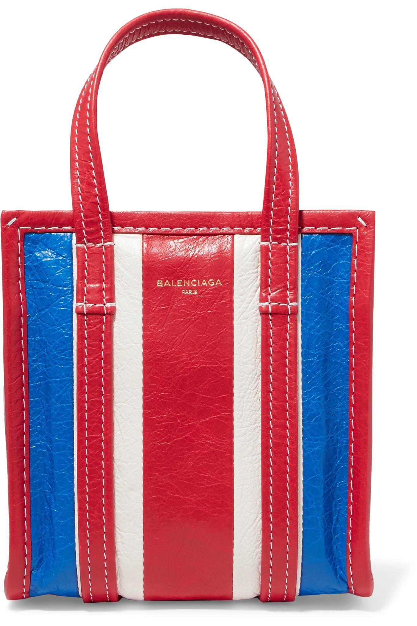 Balenciaga Sac à bandoulière en cuir rayé Bazar XXS DPH1oY