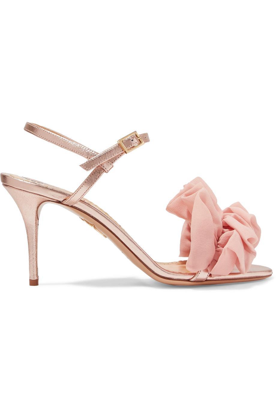 Reia Chiffon-trimmed Metallic Textured-leather Sandals - Pink Charlotte Olympia xHZxZQlj