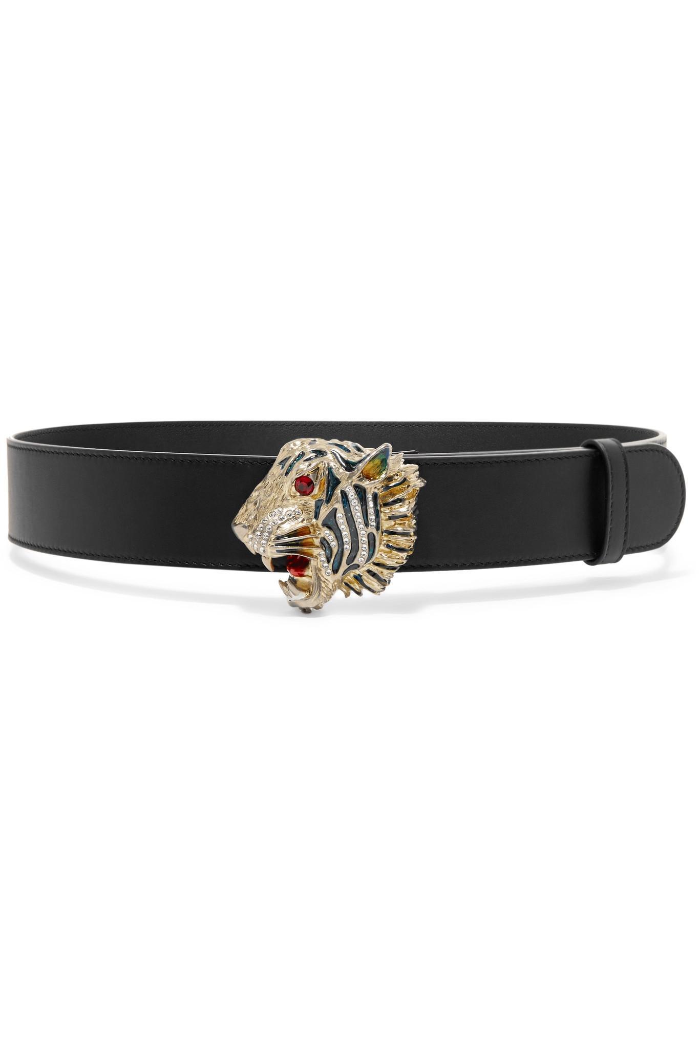 76bf11976096 Gucci Crystal-embellished Leather Belt in Black - Lyst