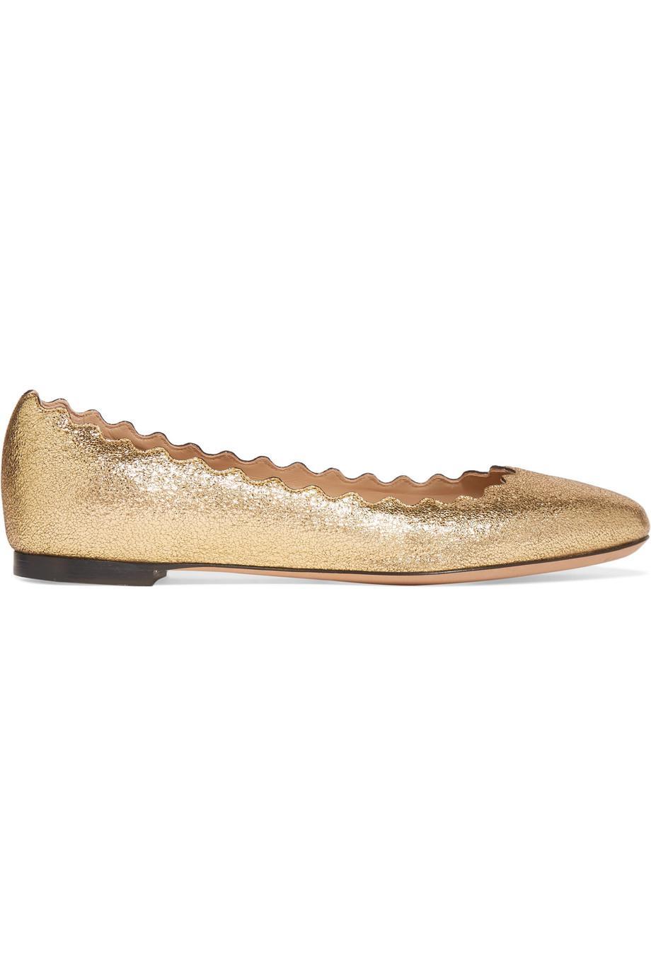 Lauren Scalloped Metallic Cracked-leather Ballet Flats - Gold Chlo uw0zb