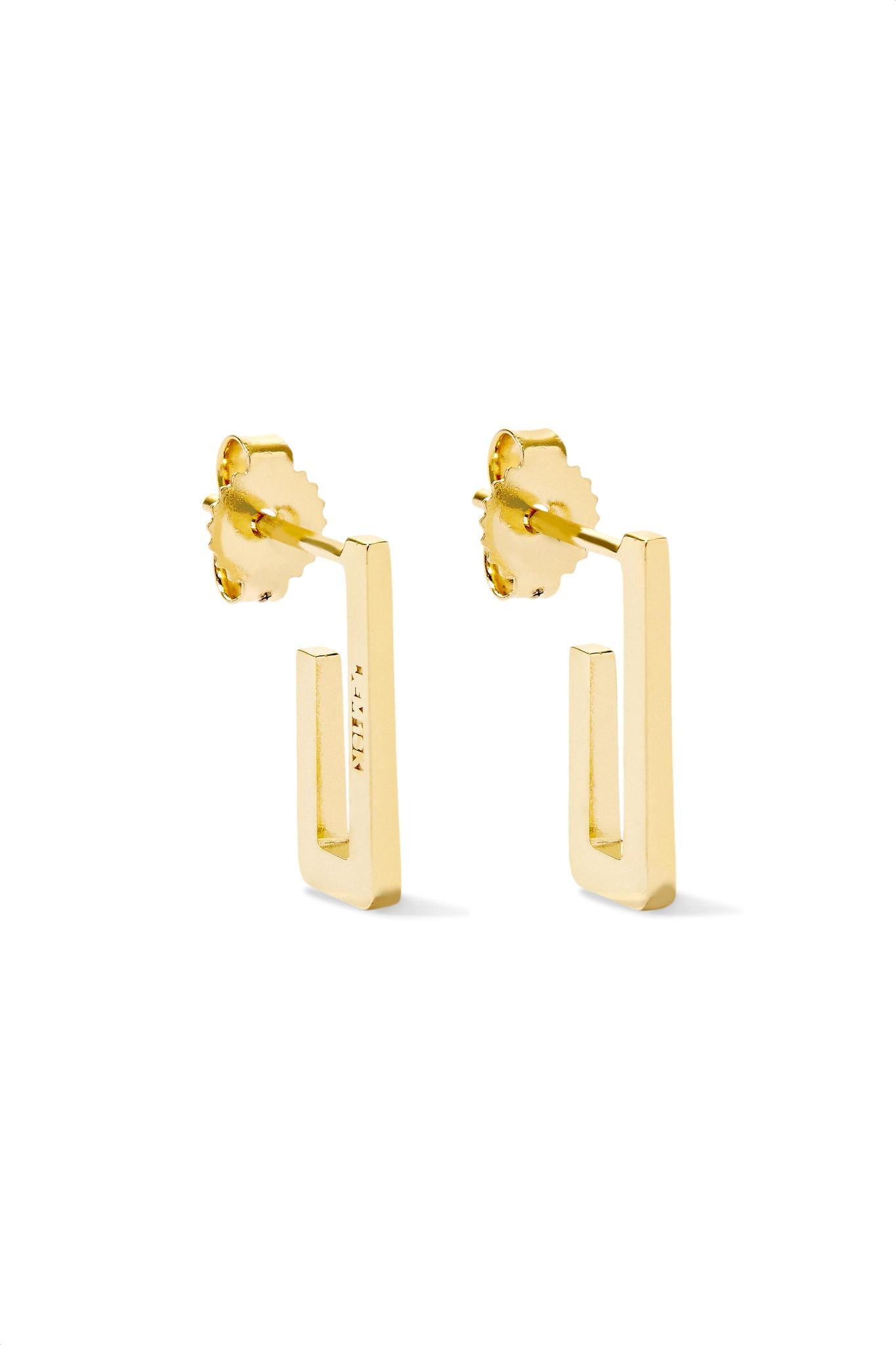 Jennifer Meyer Mini Rectangle 18-karat Gold Earrings LdFKO