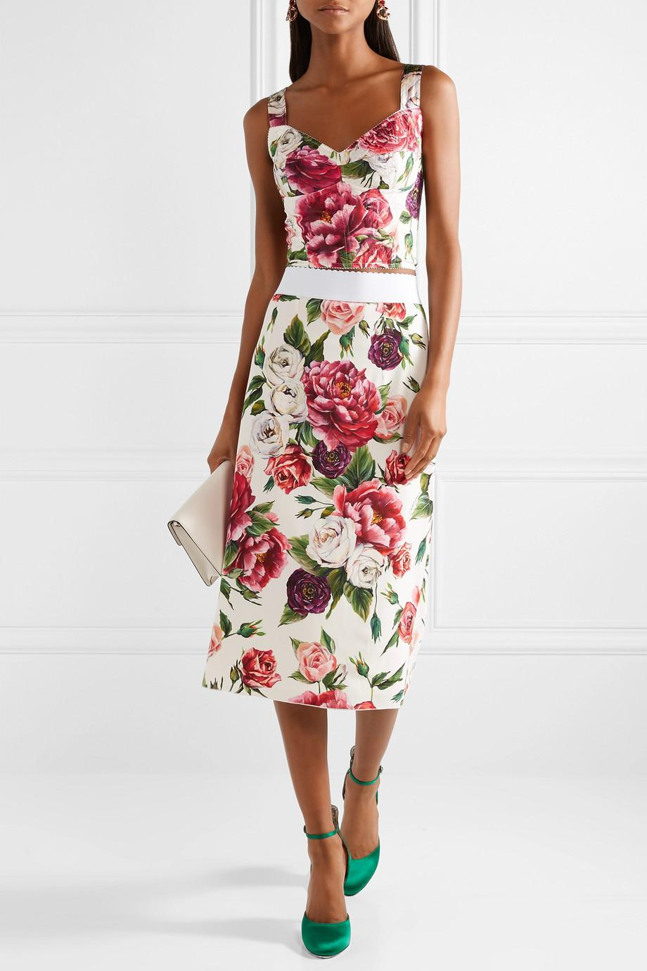 Lyst dolce gabbana floral print cady midi skirt in pink view fullscreen mightylinksfo