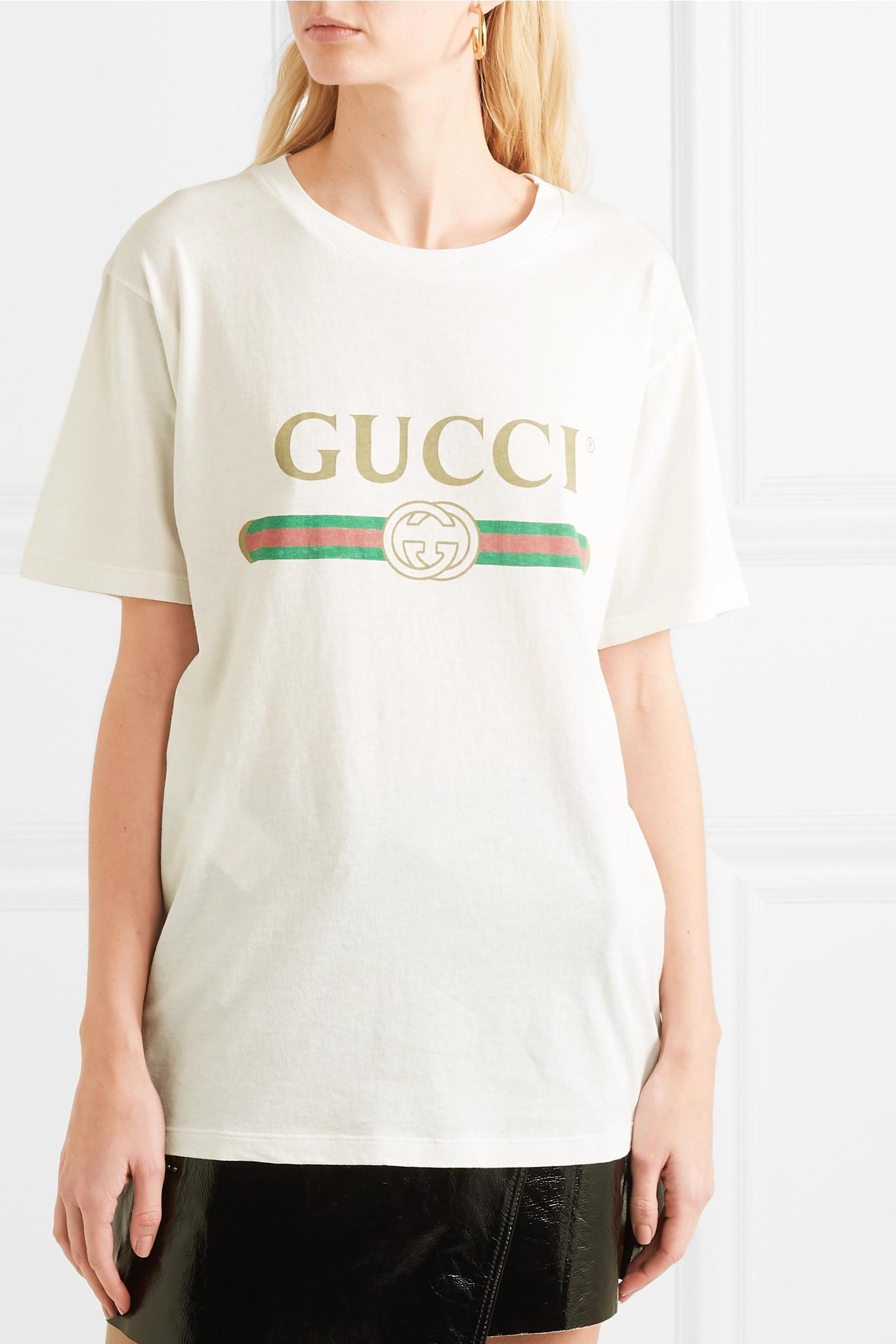 4e61fc52bf58 Gucci - White Appliquéd Distressed Printed Cotton-jersey T-shirt - Lyst.  View fullscreen