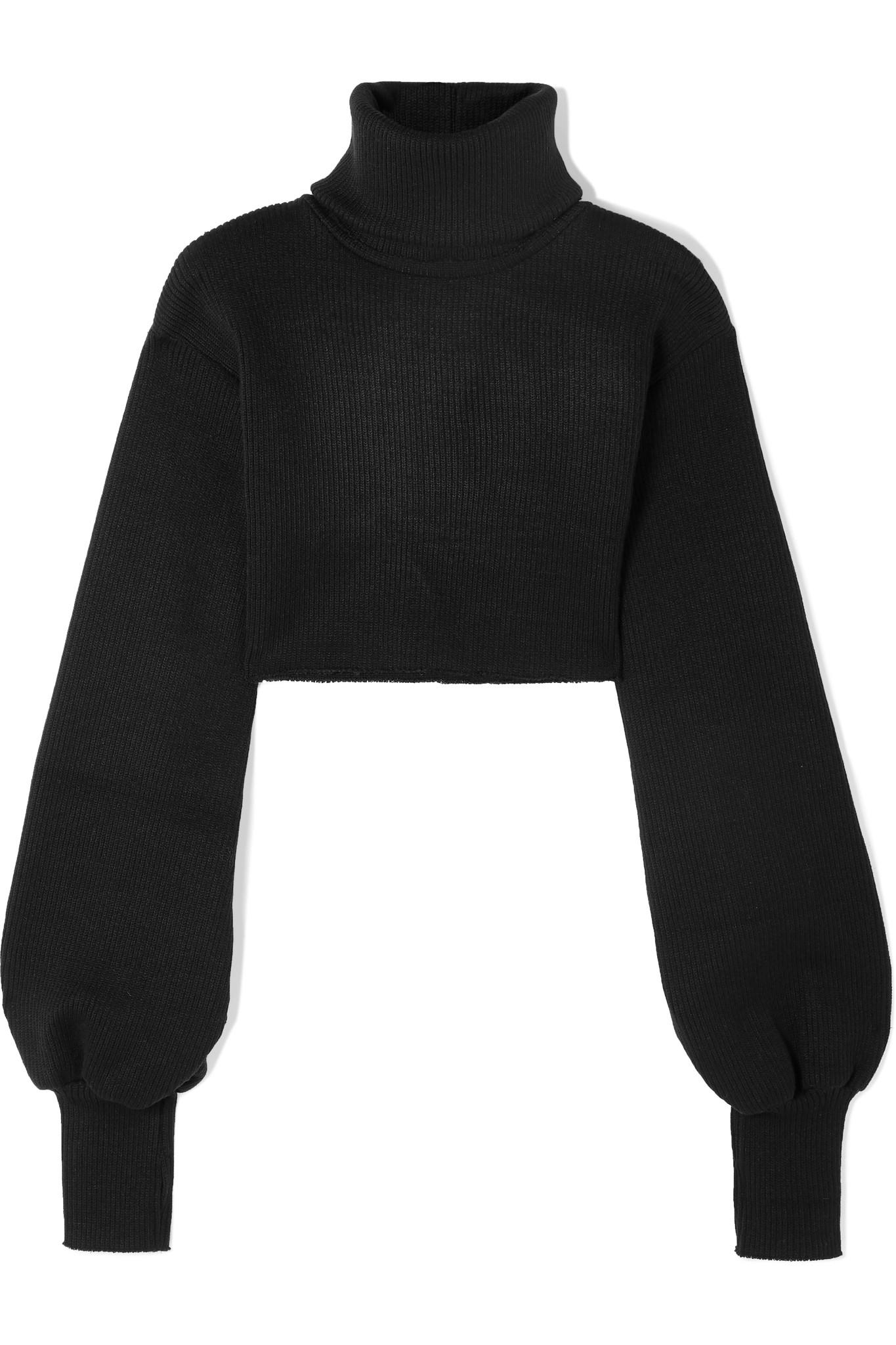 c960bd66faa Orseund Iris Cropped Ribbed-knit Turtleneck Sweater in Black - Lyst