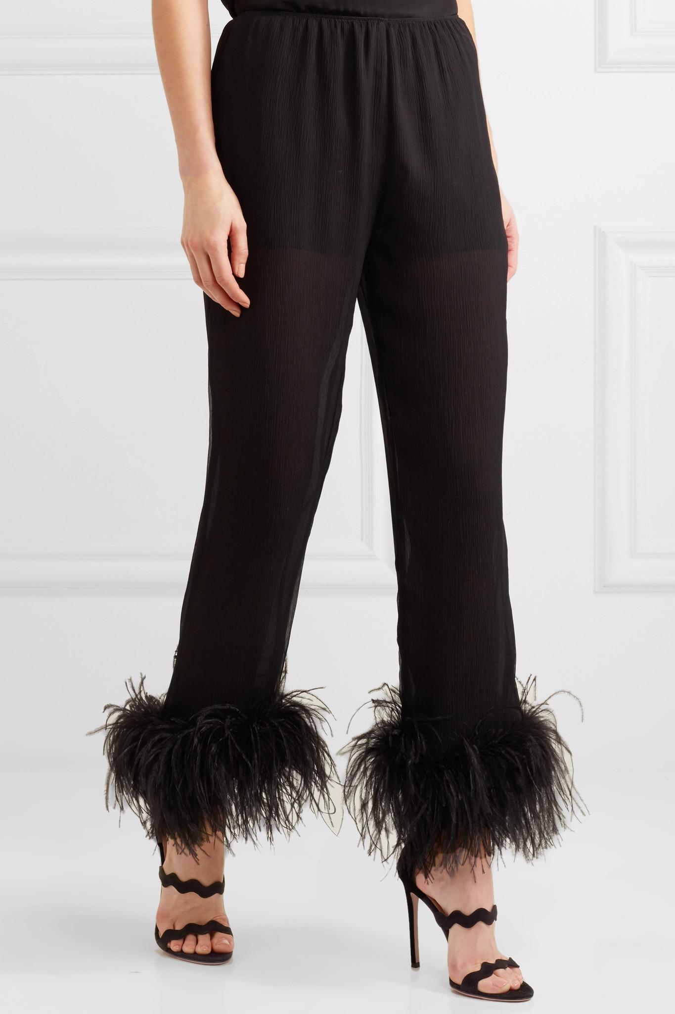 adornos arrugada de plumas Negro Pantalones gasa Prada recta pierna con y de xd1nXRq0w