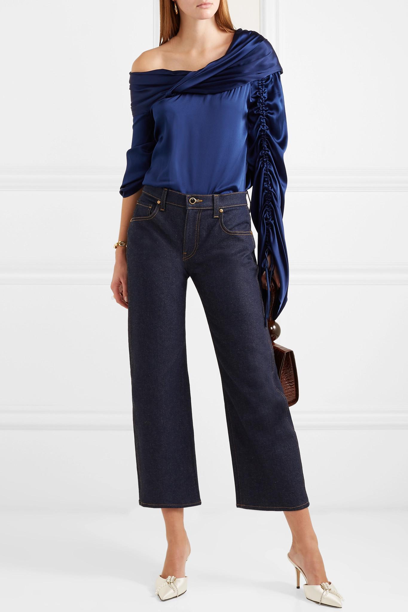 f8fa8b4d57dd15 Hellessy - Blue Sunshine Draped Asymmetric Silk-charmeuse Blouse - Lyst.  View fullscreen