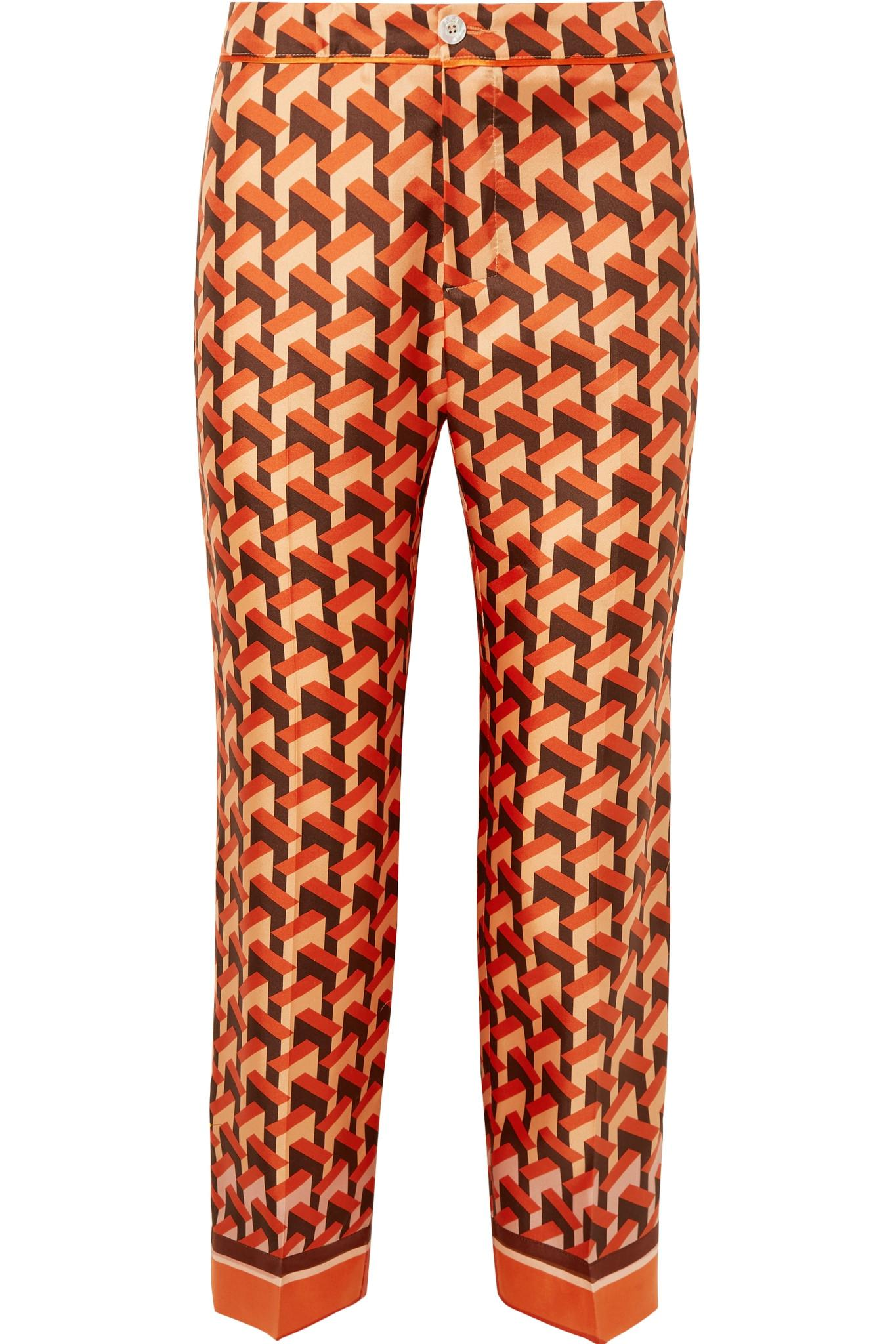 Ceo Printed Silk-twill Straight-leg Pants - Orange F.R.S. For Restless Sleepers gTBLCwLndg