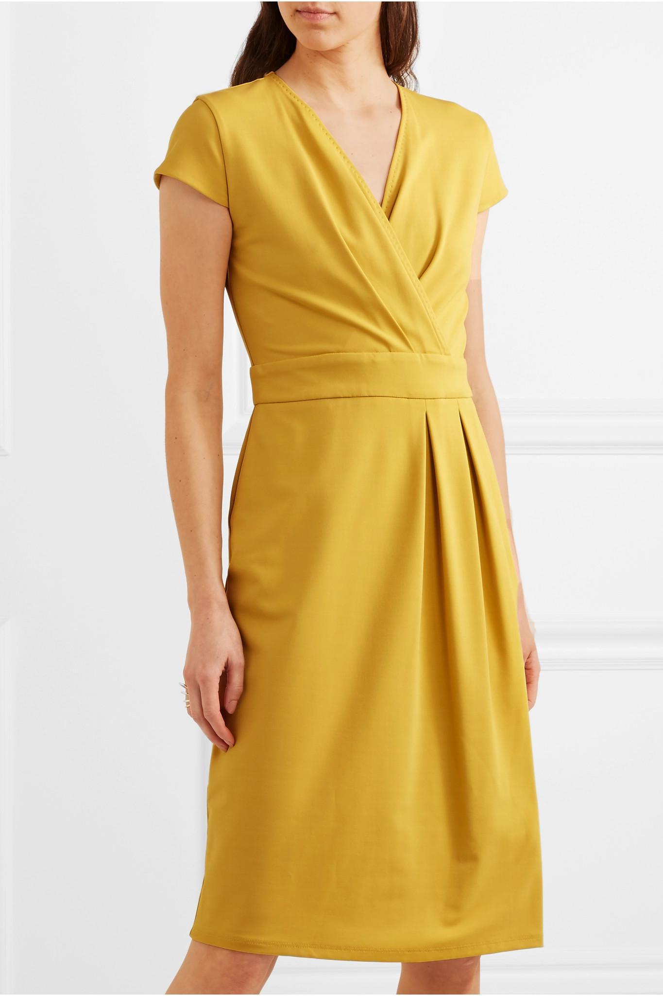 Wrap-effect Stretch-jersey Dress - Yellow Max Mara pFnS51KE