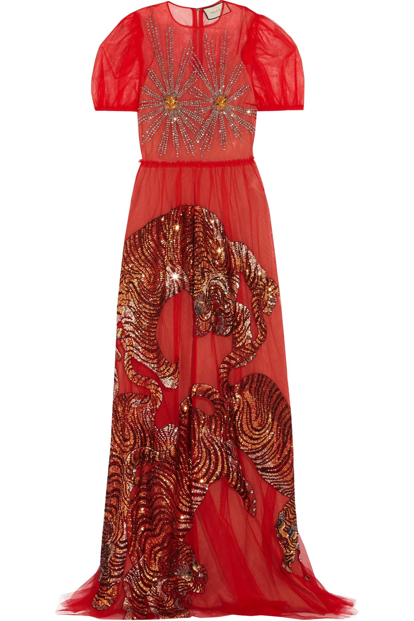 Gucci Embellished Tulle Gown in Red - Lyst