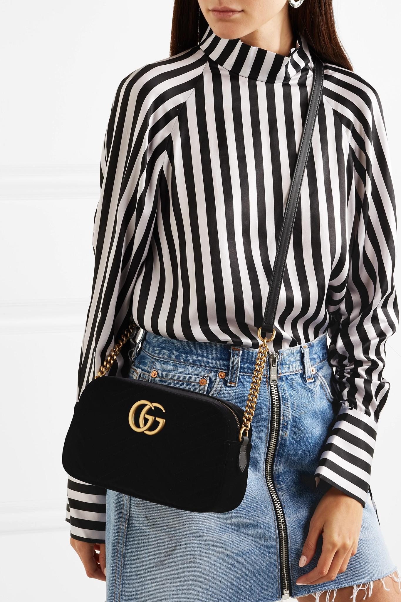 369747b7721 Gucci - Black Gg Marmont Small Leather-trimmed Quilted Velvet Shoulder Bag  - Lyst. View fullscreen