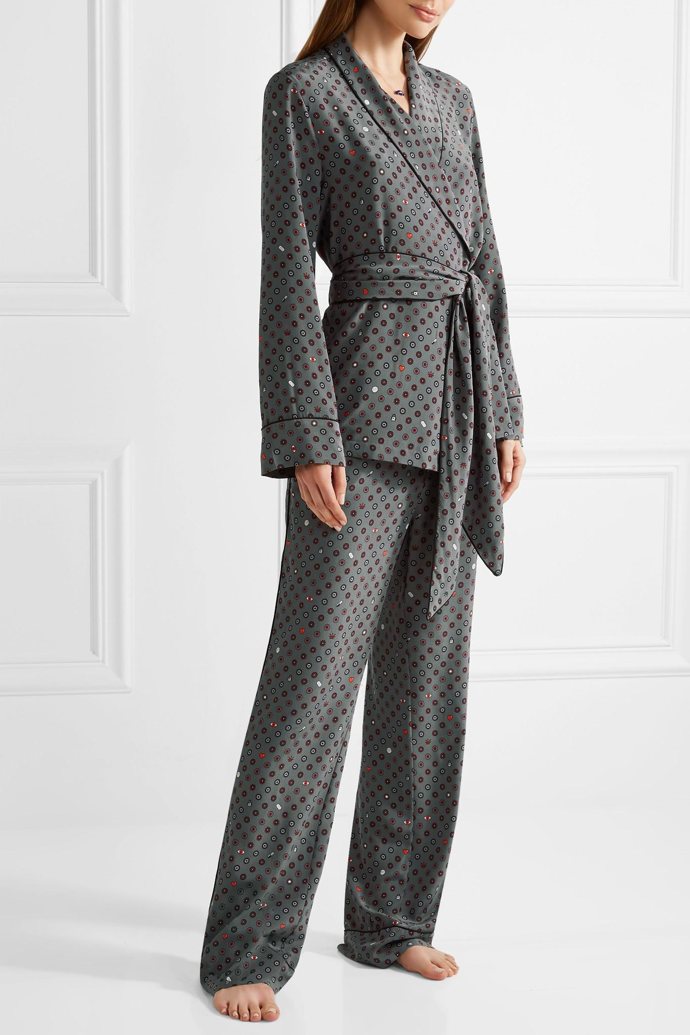 f99b12e227 Lyst - Equipment Odette Printed Washed-silk Pajama Set in Gray