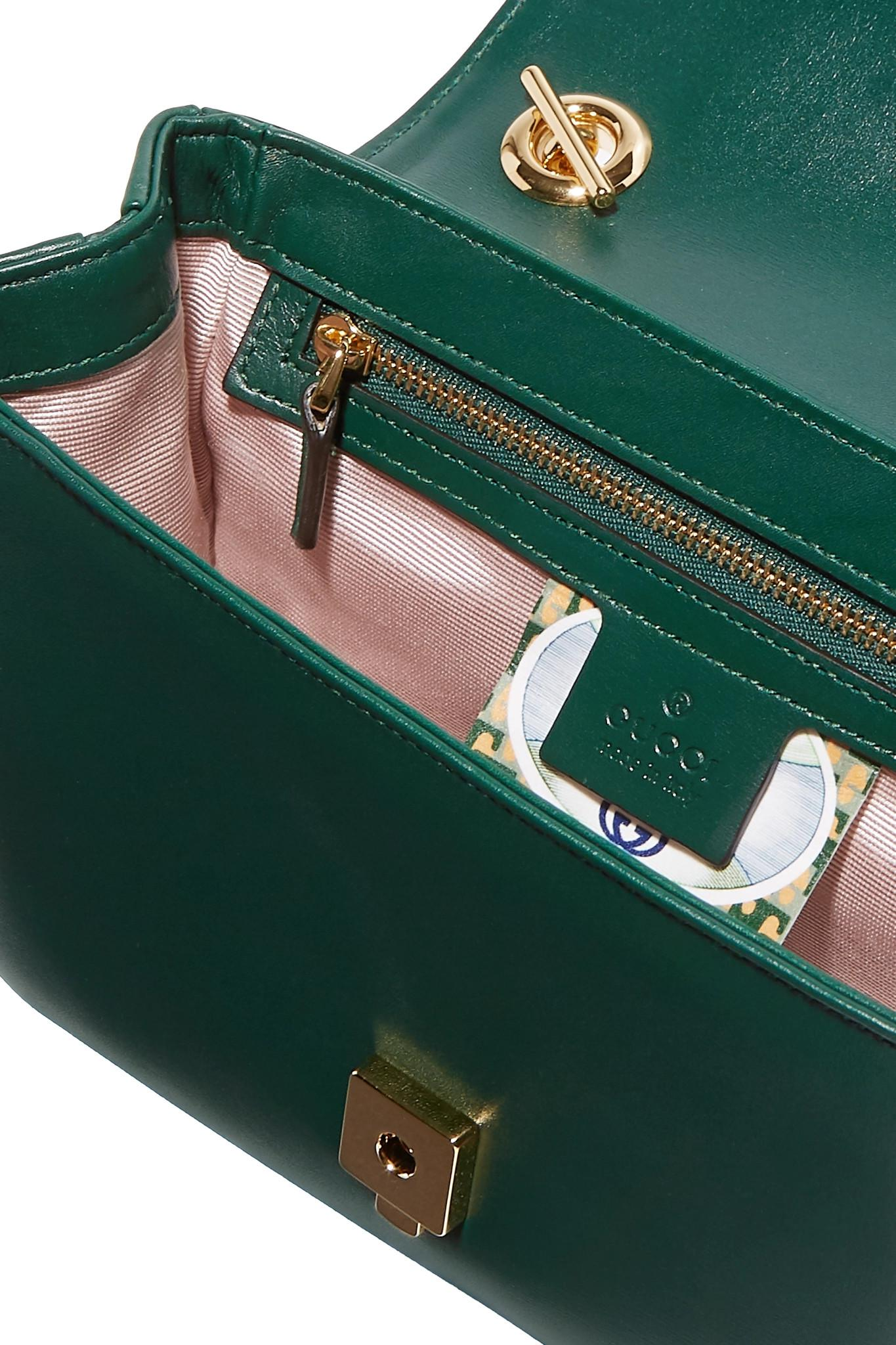 a5108d358d8f Gucci Rajah Small Embellished Leather Shoulder Bag in Green - Lyst