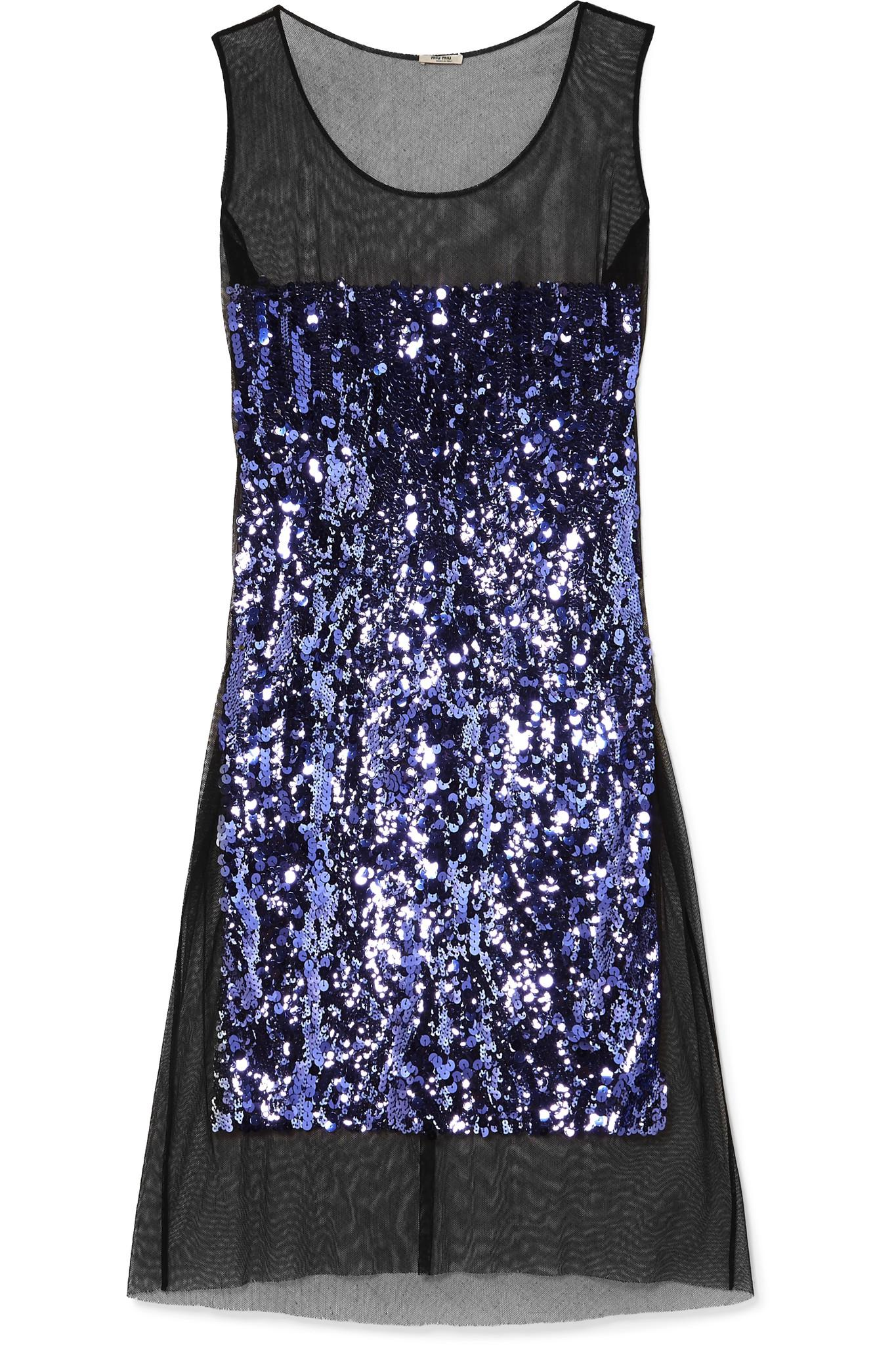 Sequin-embellished Cotton-tulle Midi Dress - Purple Miu Miu wQ7ZKLrh