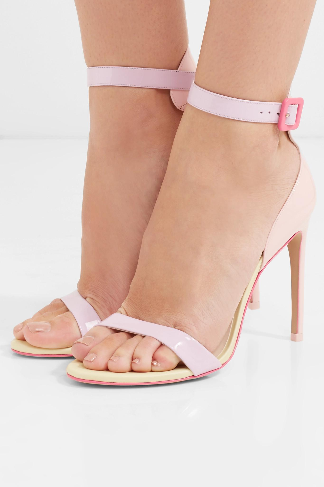 c6a9d49a2fa Lyst - Sophia Webster Nicole Color-block Patent-leather Sandals in Pink