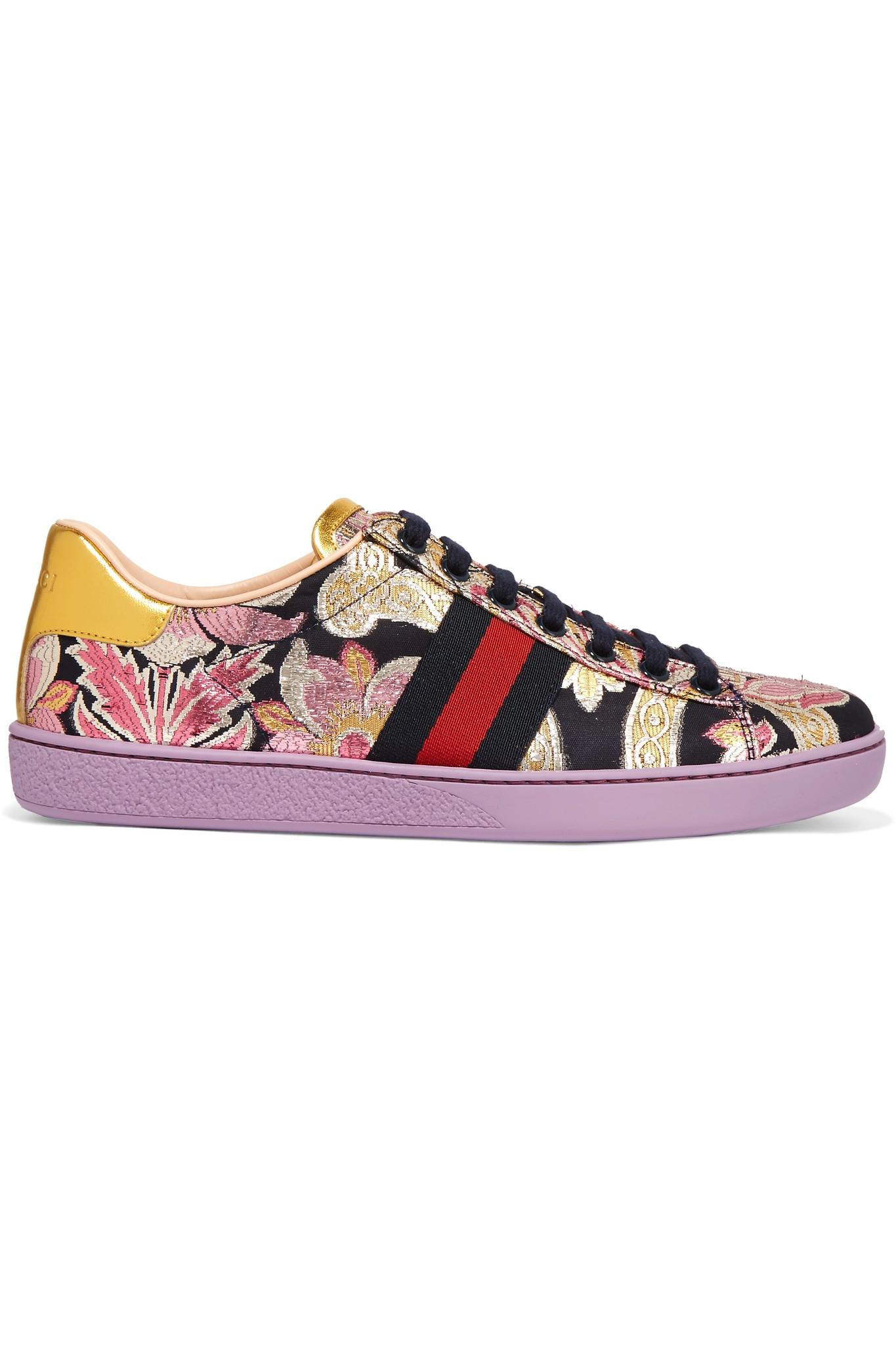 60d06ad5c1d Gucci Ace Metallic Leather-trimmed Brocade Sneakers in Purple - Lyst