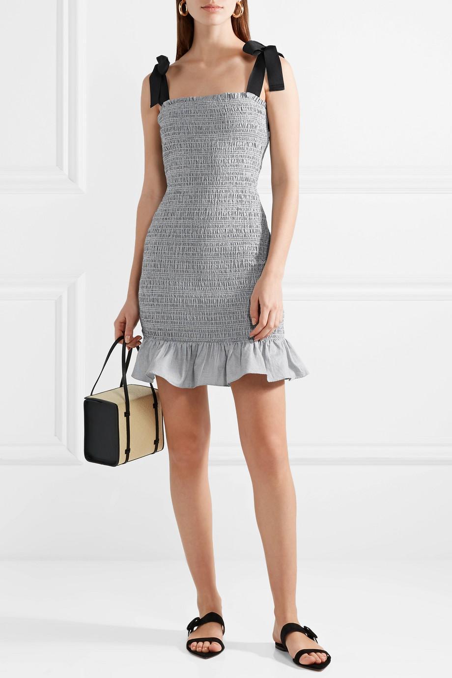 630666040414 rebecca-vallance-designer-gray-Luella-Grosgrain-trimmed-Shirred-Cotton-Mini-Dress.jpeg