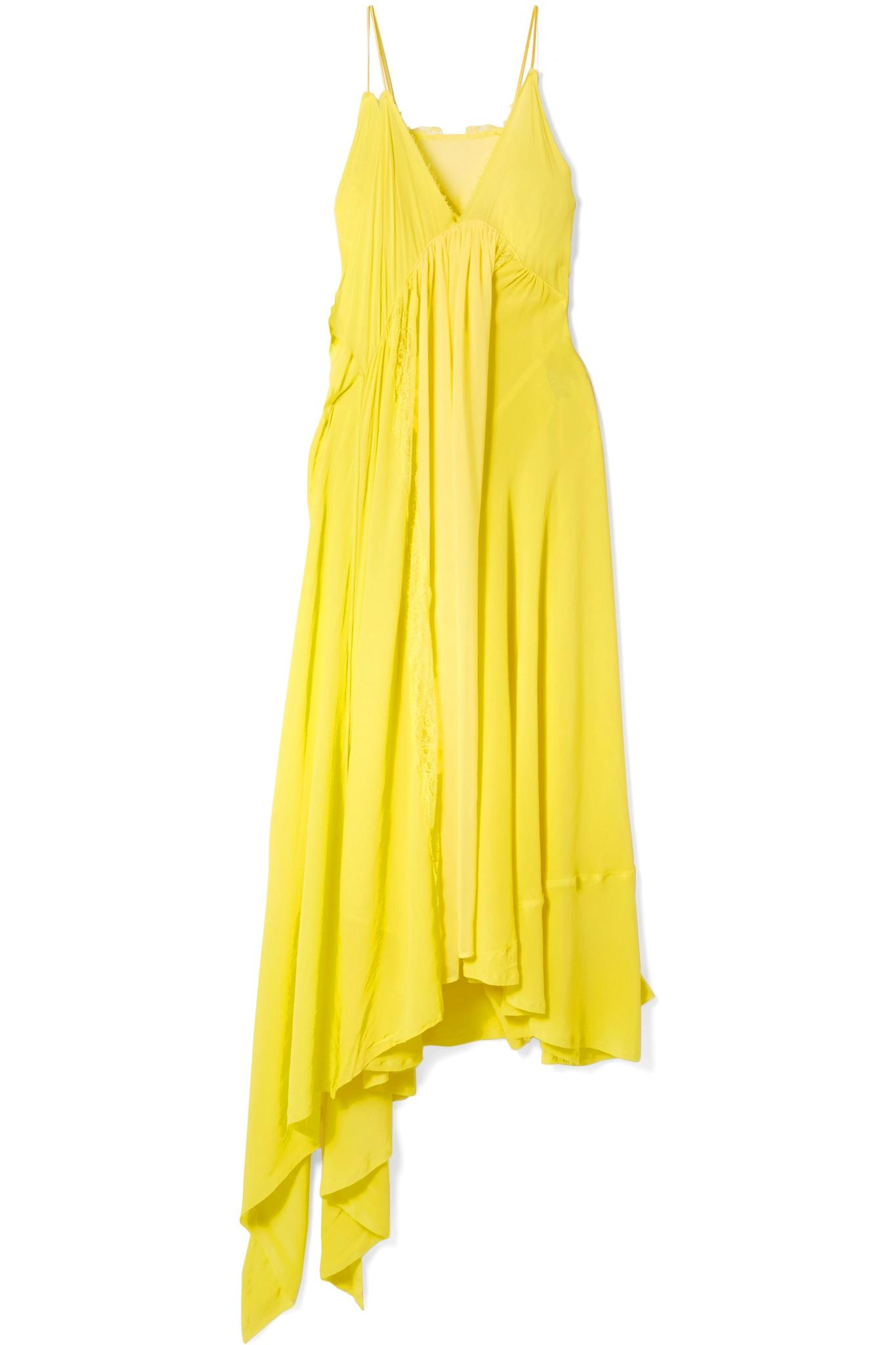 48c3882c252fb Balenciaga Draped Lace-trimmed Silk-crepe Midi Dress in Yellow - Lyst