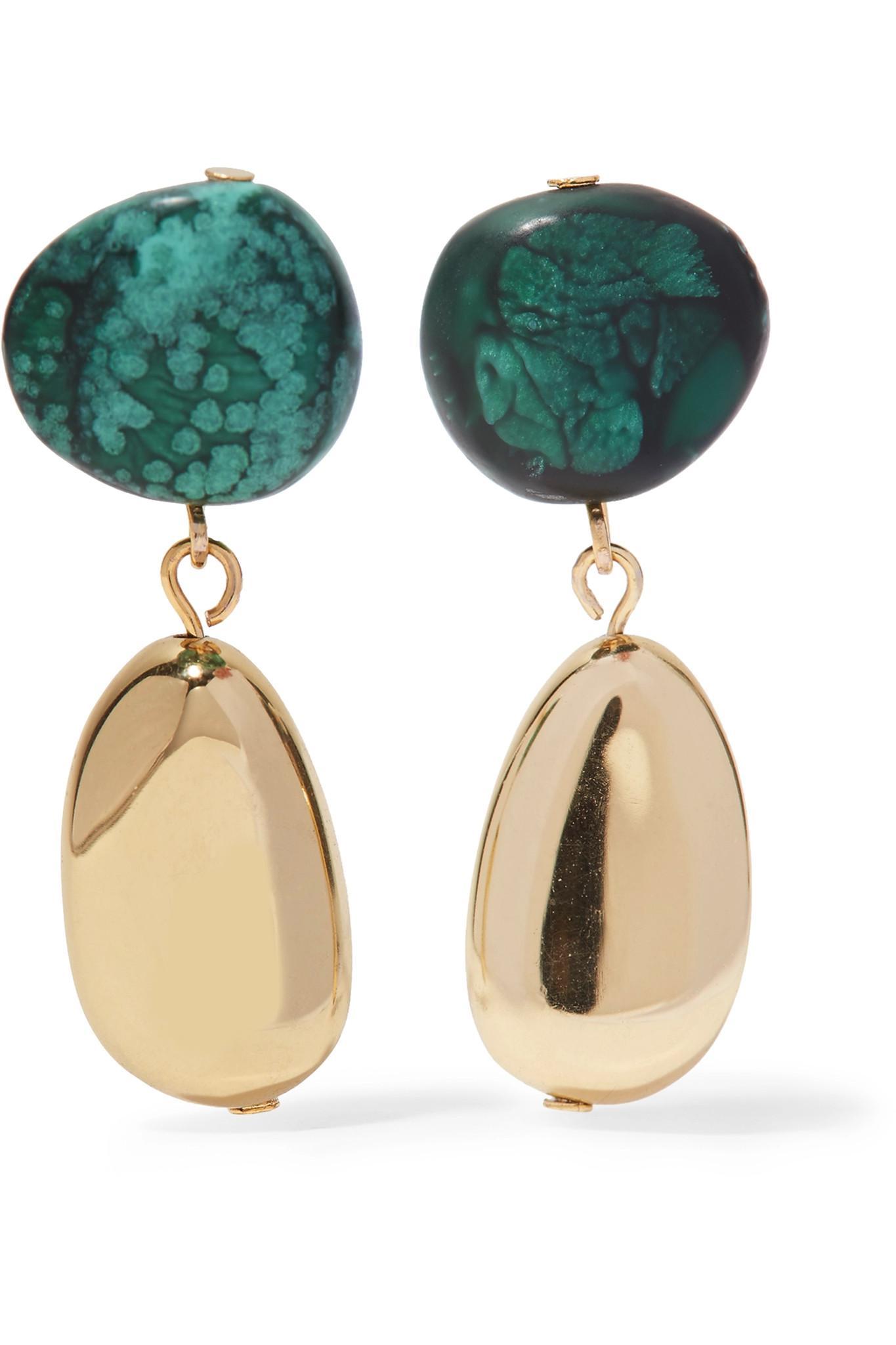 Gold-tone Resin Earrings - Green Dinosaur Designs V9zBwKD
