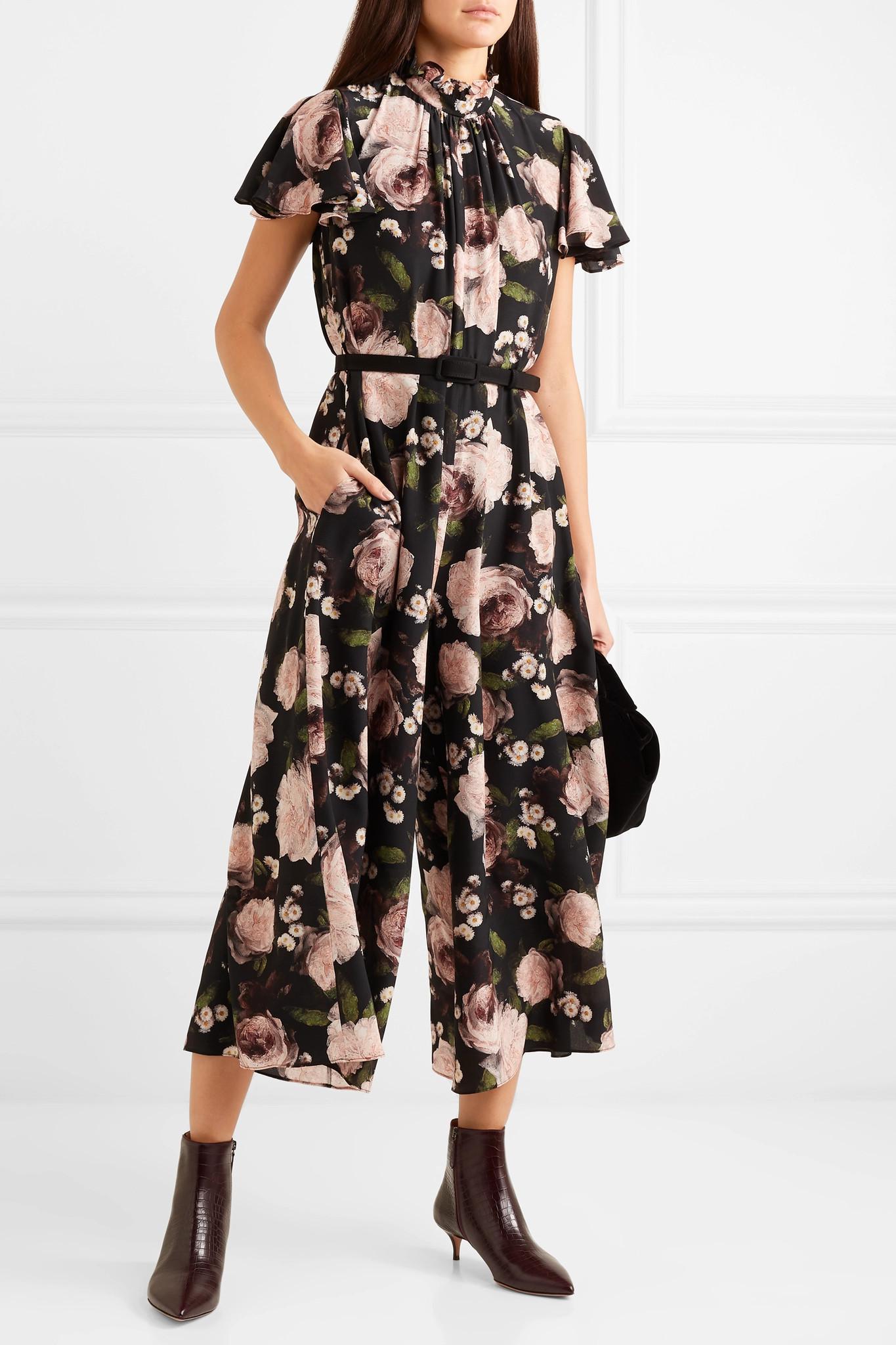 6594ab896f Erdem Ellamay Dutch Petal Print Silk Jumpsuit in Black - Save 40% - Lyst
