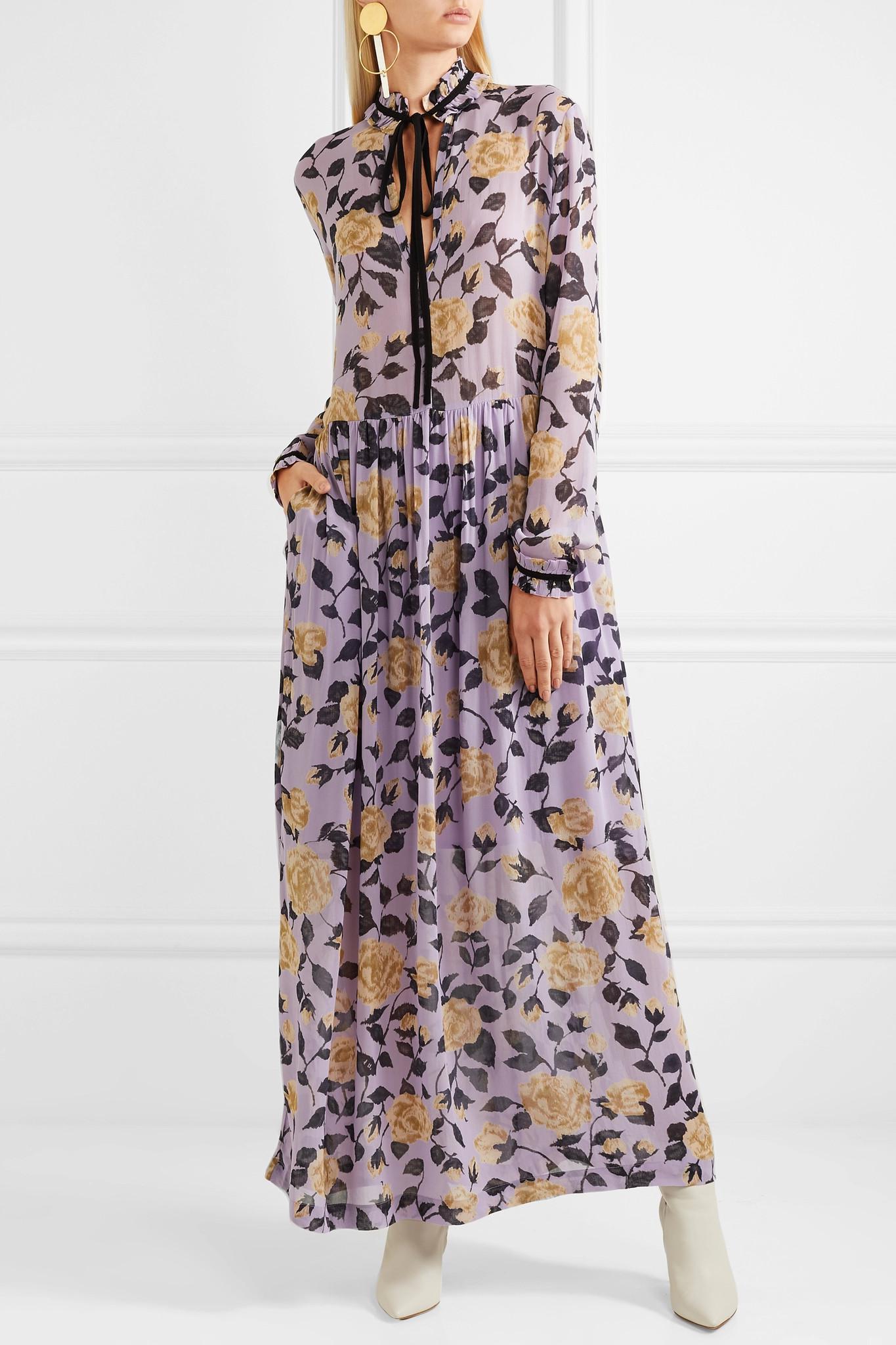 9ad1e62f566 Ganni Carlton Pussy-bow Floral-print Georgette Maxi Dress in Purple ...
