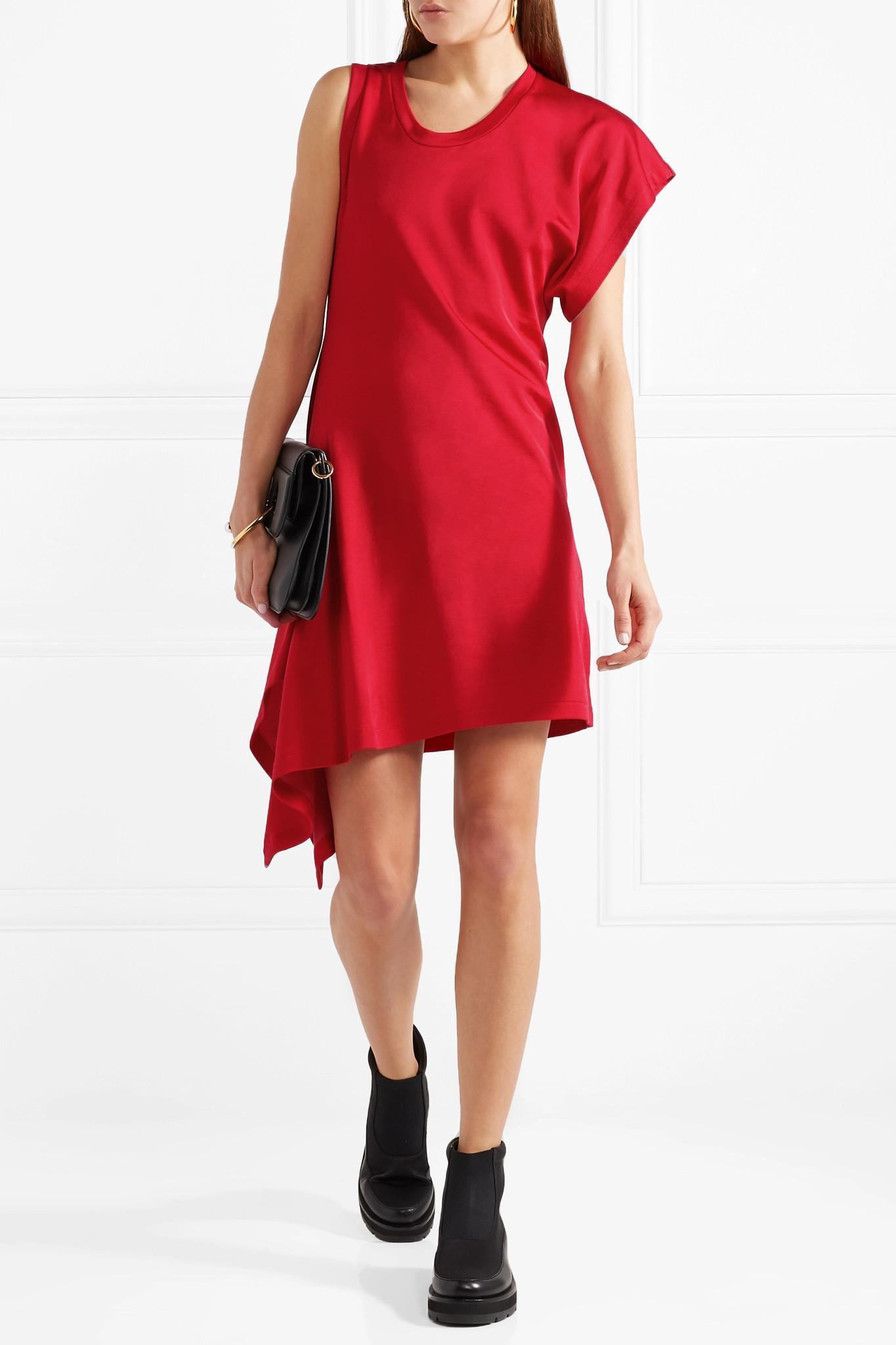 Discount Footlocker Finishline Outlet Online Shop Asymmetric Jersey Mini Dress - Claret Maison Martin Margiela JRjf4eCh