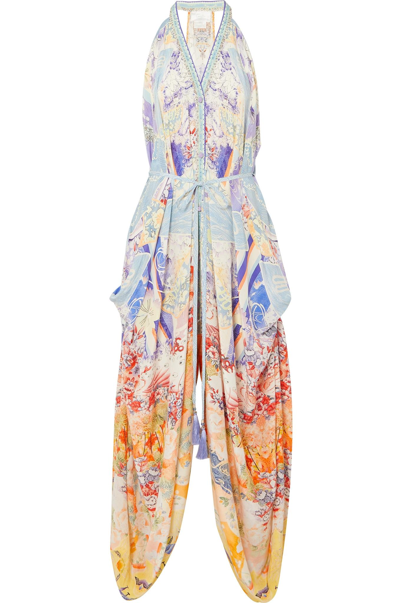 30653dcb76 Camilla Embellished Printed Silk Crepe De Chine Jumpsuit in Blue - Lyst