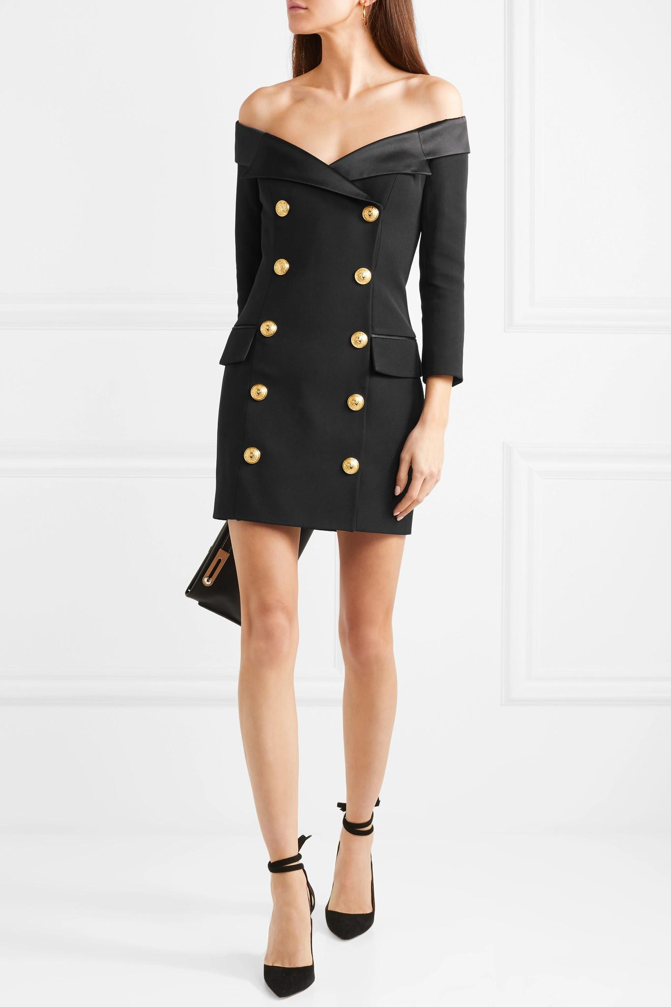 74558b41 Balmain Off-the-shoulder Double-breasted Wool Mini Dress in Black - Lyst