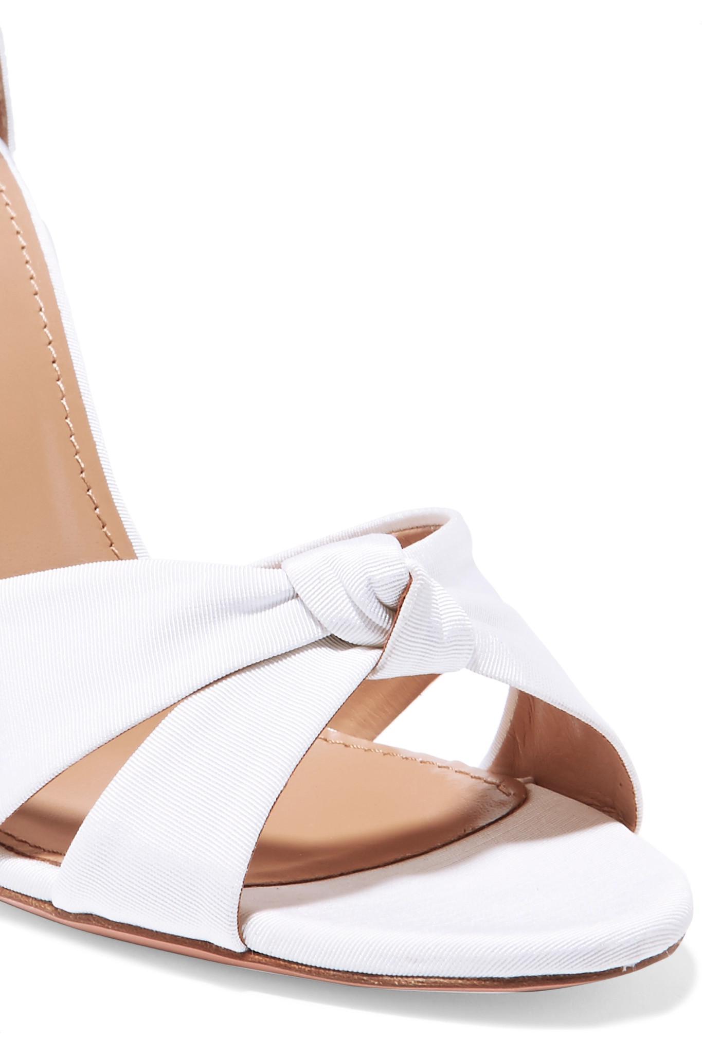 25b80846a76e Lyst - Aquazzura All Tied Up Grosgrain Sandals in White