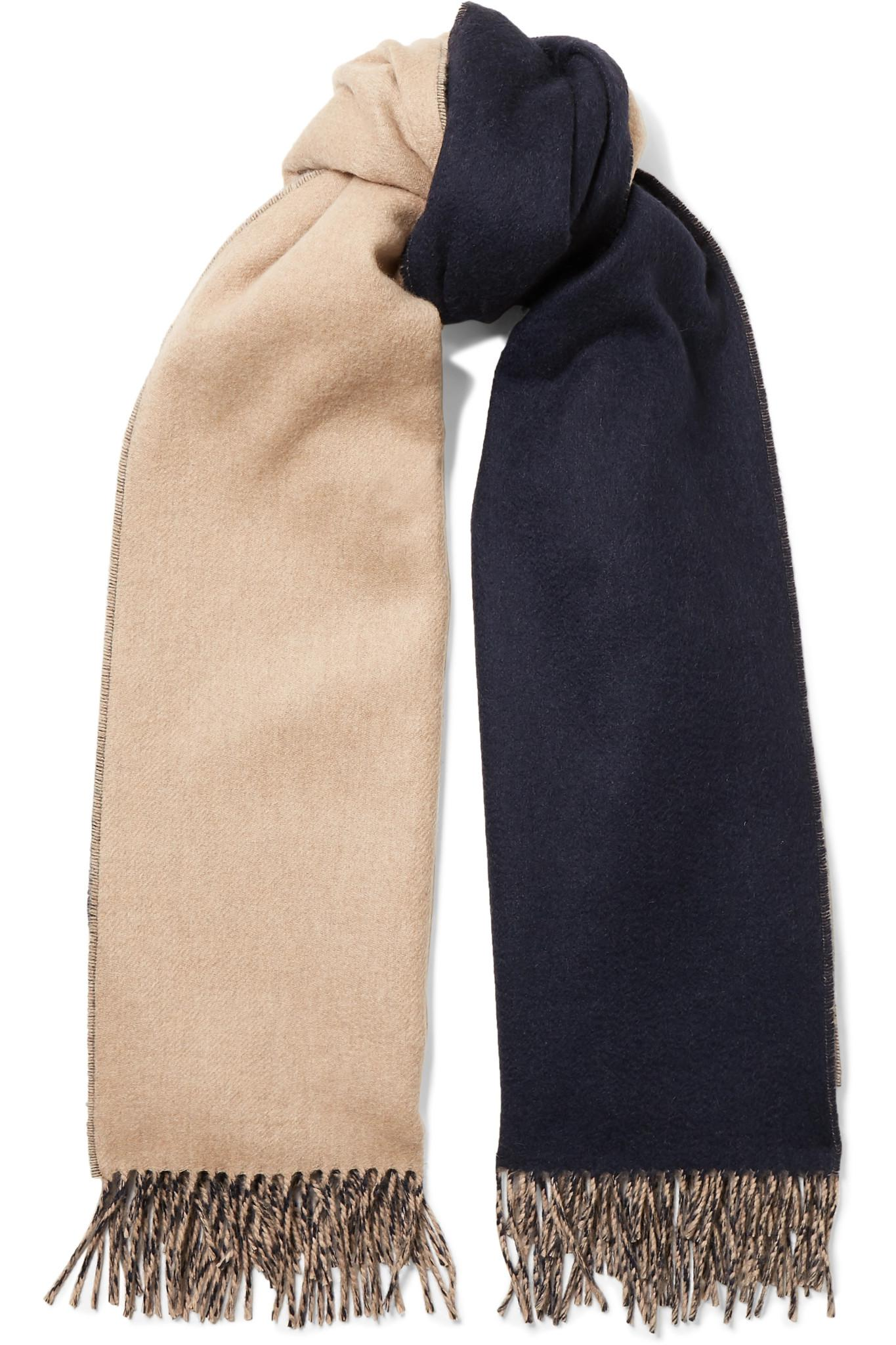 e368b252ca6 Lyst - Johnstons Reversible Fringed Cashmere Scarf in Blue