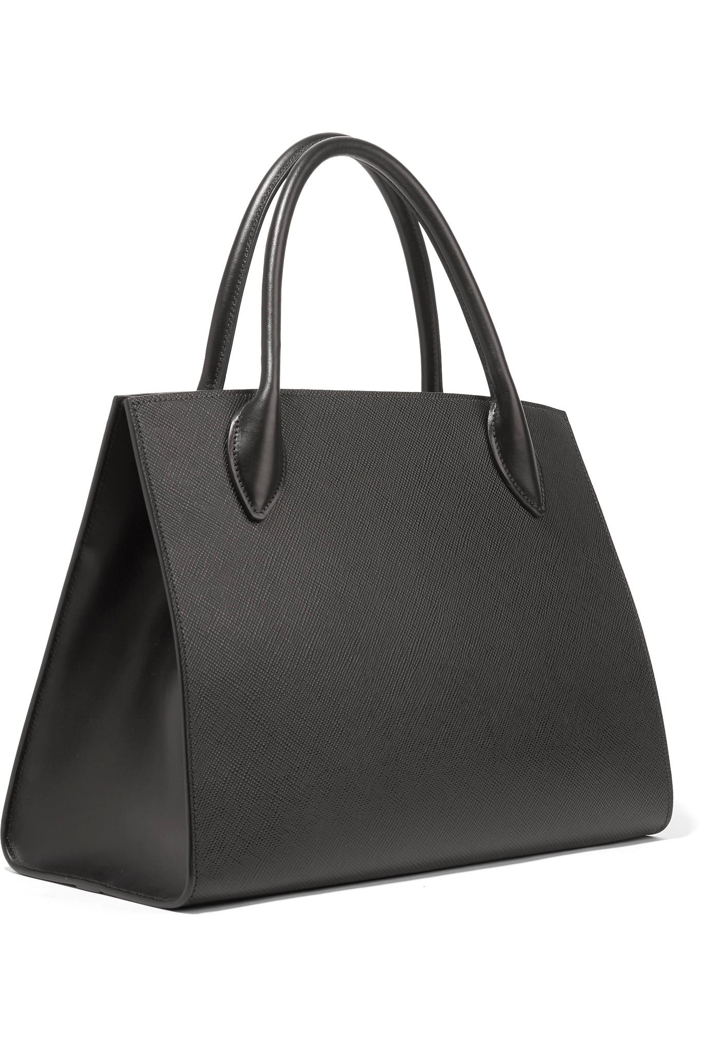 657ceb9c0a inexpensive prada shoulder bag a312a d2317  official store prada black  textured leather tote lyst. view fullscreen 6a41b 7f9c9