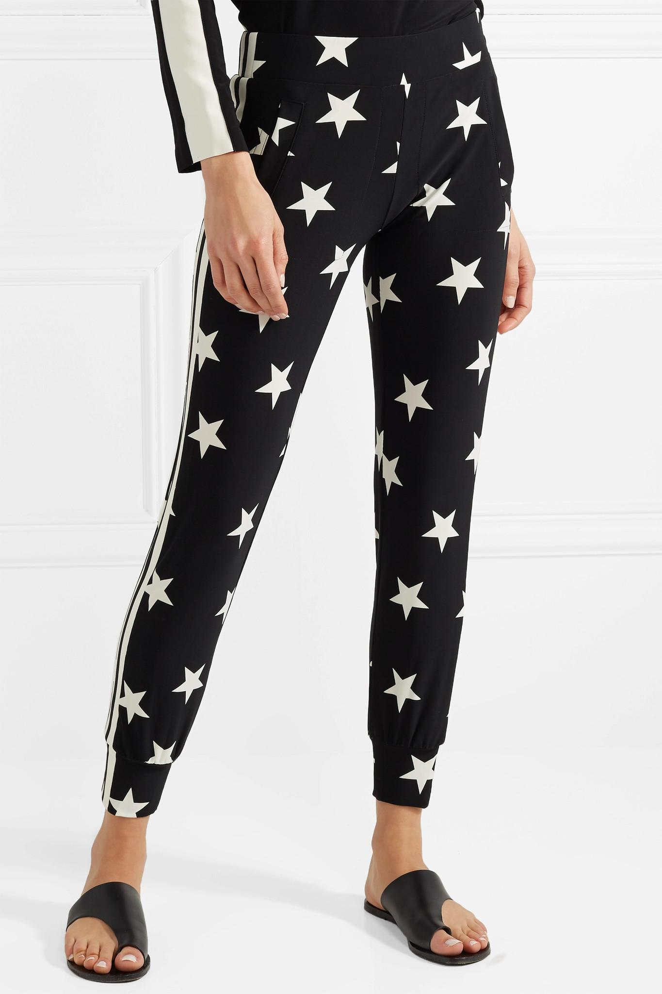 Printed Stretch-jersey Track Pants - Black Norma Kamali Clearance Low Shipping Fee Cheap Price Factory Outlet 0kFmE