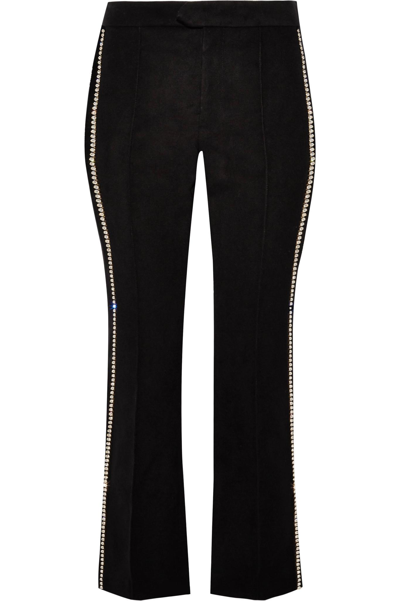 Philea Swarovski Crystal-embellished Felt Straight-leg Pants - Black Isabel Marant tn3T9c