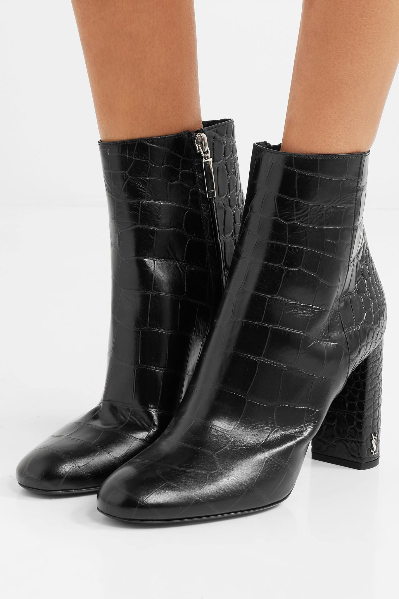 Saint Laurent Loulou Patent Leather Ankle Boots