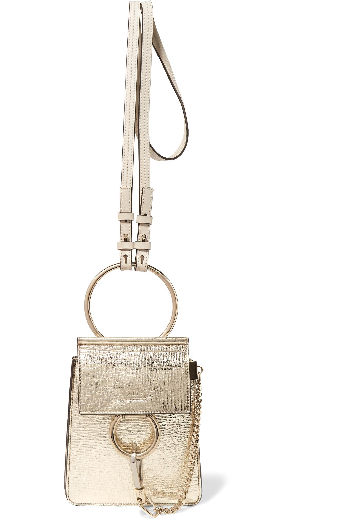 41193284167f0 Chloé Faye Bracelet Mini Metallic Cracked-leather Shoulder Bag in ...