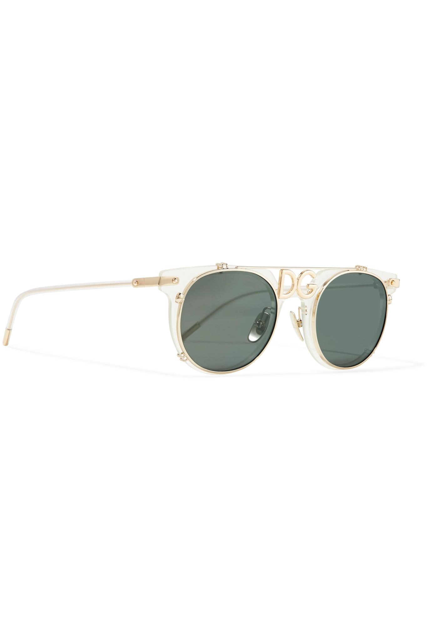 35d2c6f6a003 Dolce   Gabbana - Metallic D-frame Acetate And Gold-tone Sunglasses - Lyst.  View fullscreen