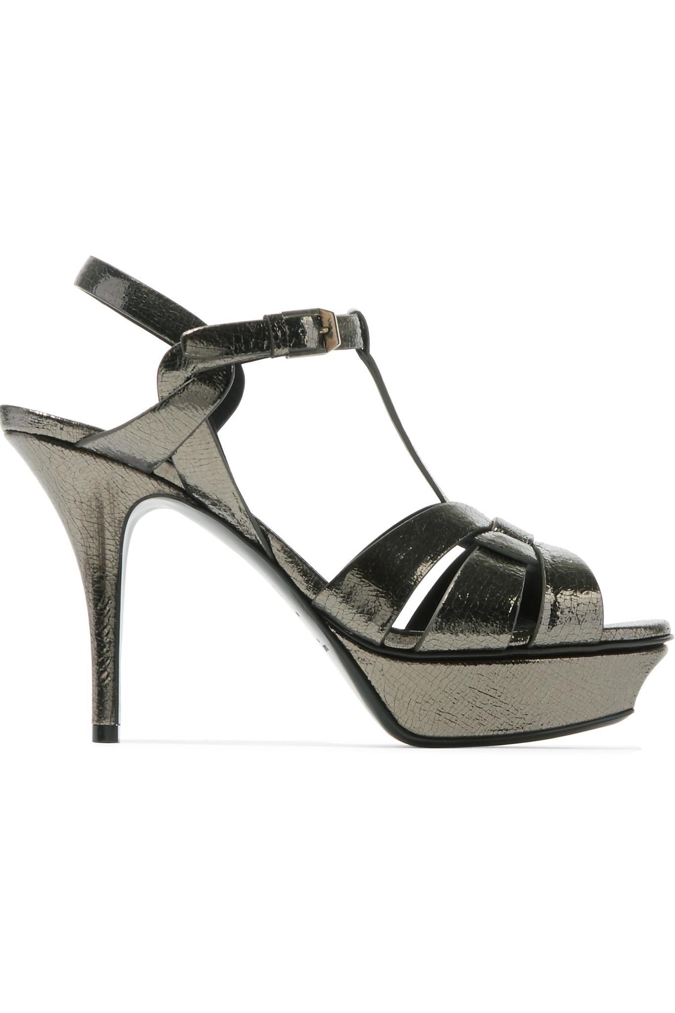 5db2701864ef6e Saint Laurent. Women s Black Tribute Metallic Cracked-leather Platform  Sandals