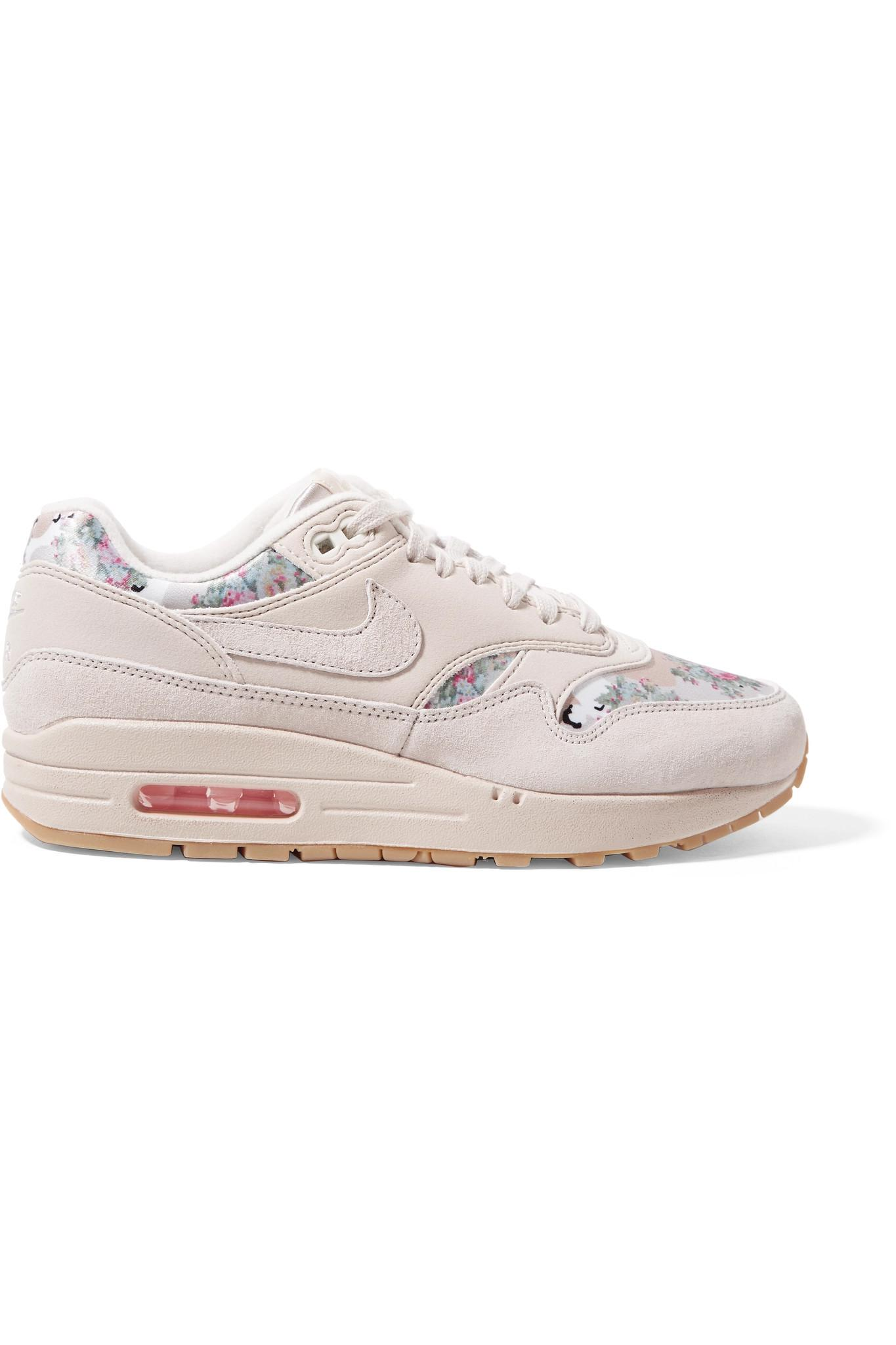 e4aa502cc8d Lyst - Nike Air Max 1 Suede And Floral-print Satin Sneakers in Natural