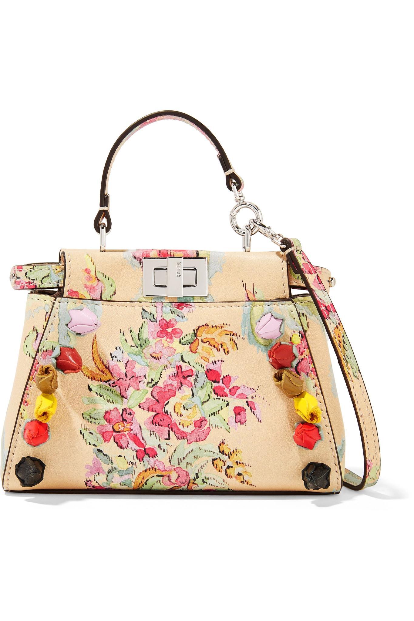 b8e5a184c1 Lyst - Fendi Peekaboo Micro Appliquéd Printed Leather Shoulder Bag ...