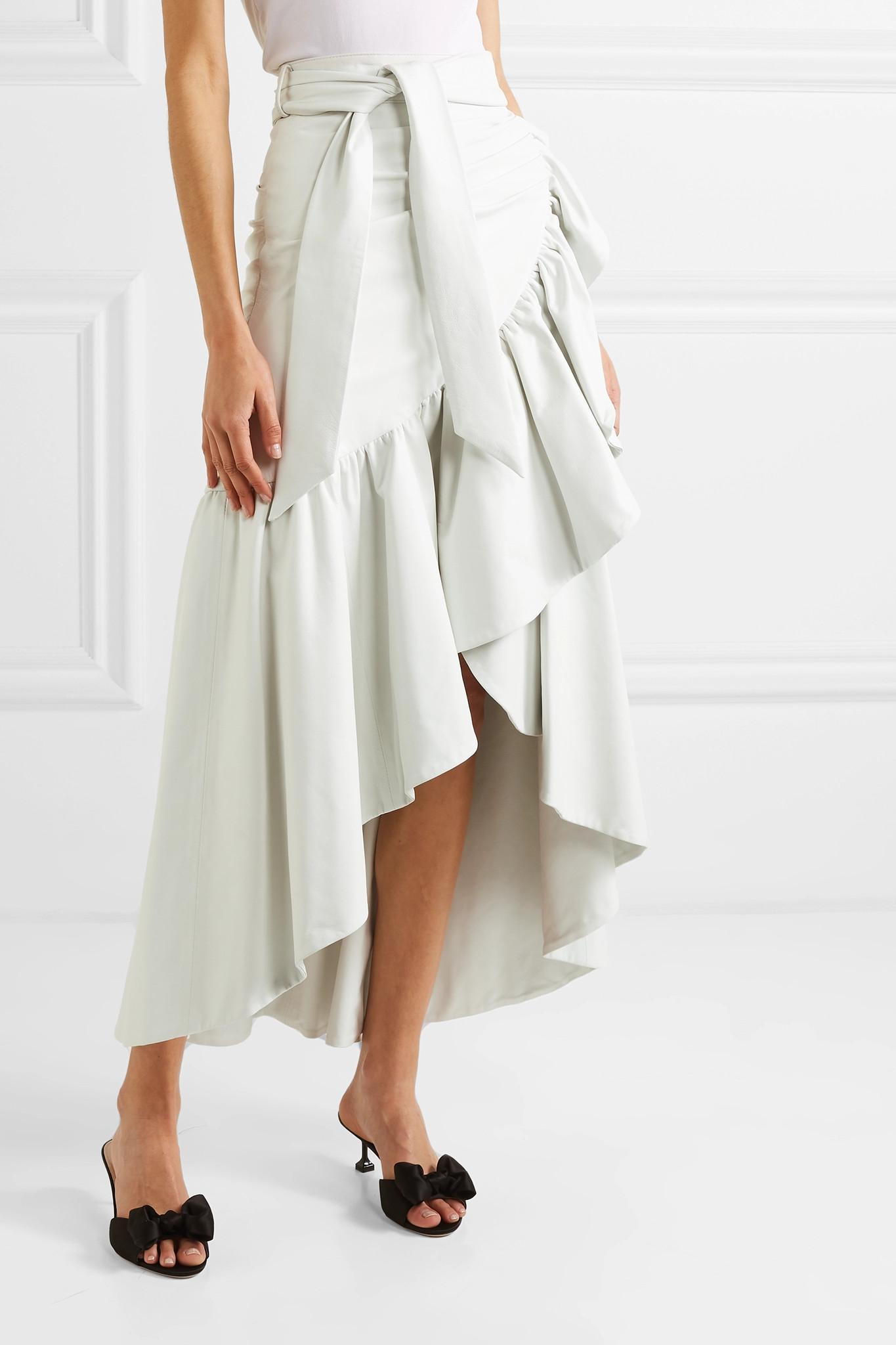 68e4a3fa35 Rodarte - White Ruffled Leather Skirt - Lyst. View fullscreen