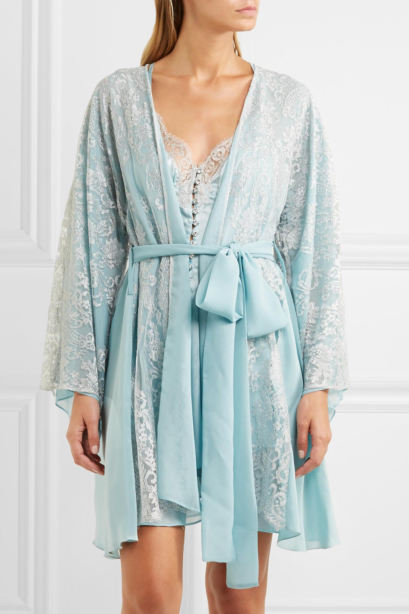 4c18416e3860 Lyst - Rosamosario Cosmic Love Chantilly Lace And Silk-crepe Robe in ...