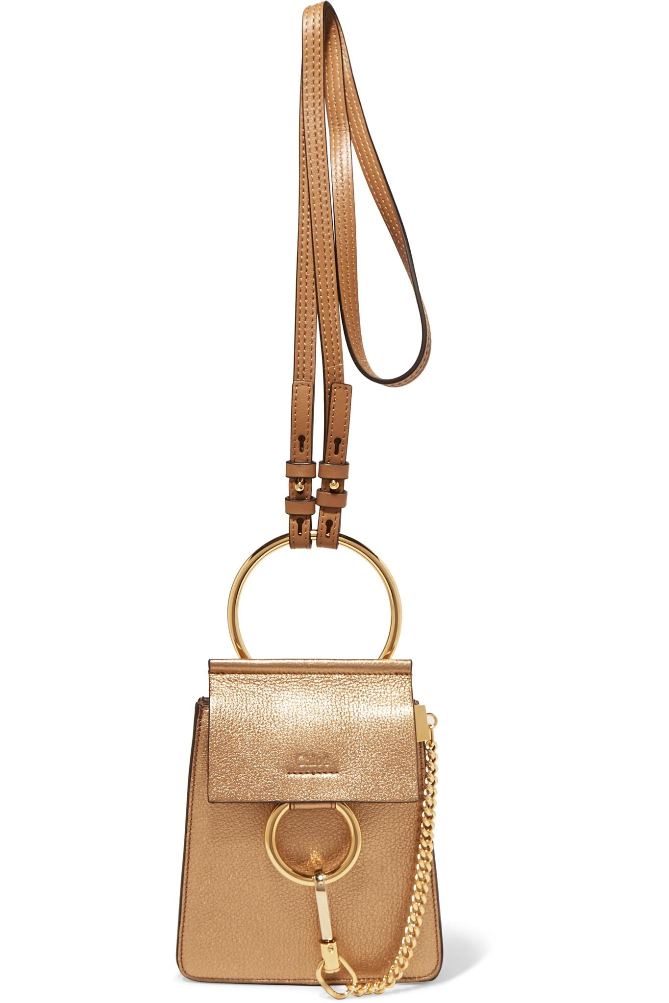 6b02eee71b Chloé. Women's Faye Bracelet Metallic Textured-leather Shoulder Bag