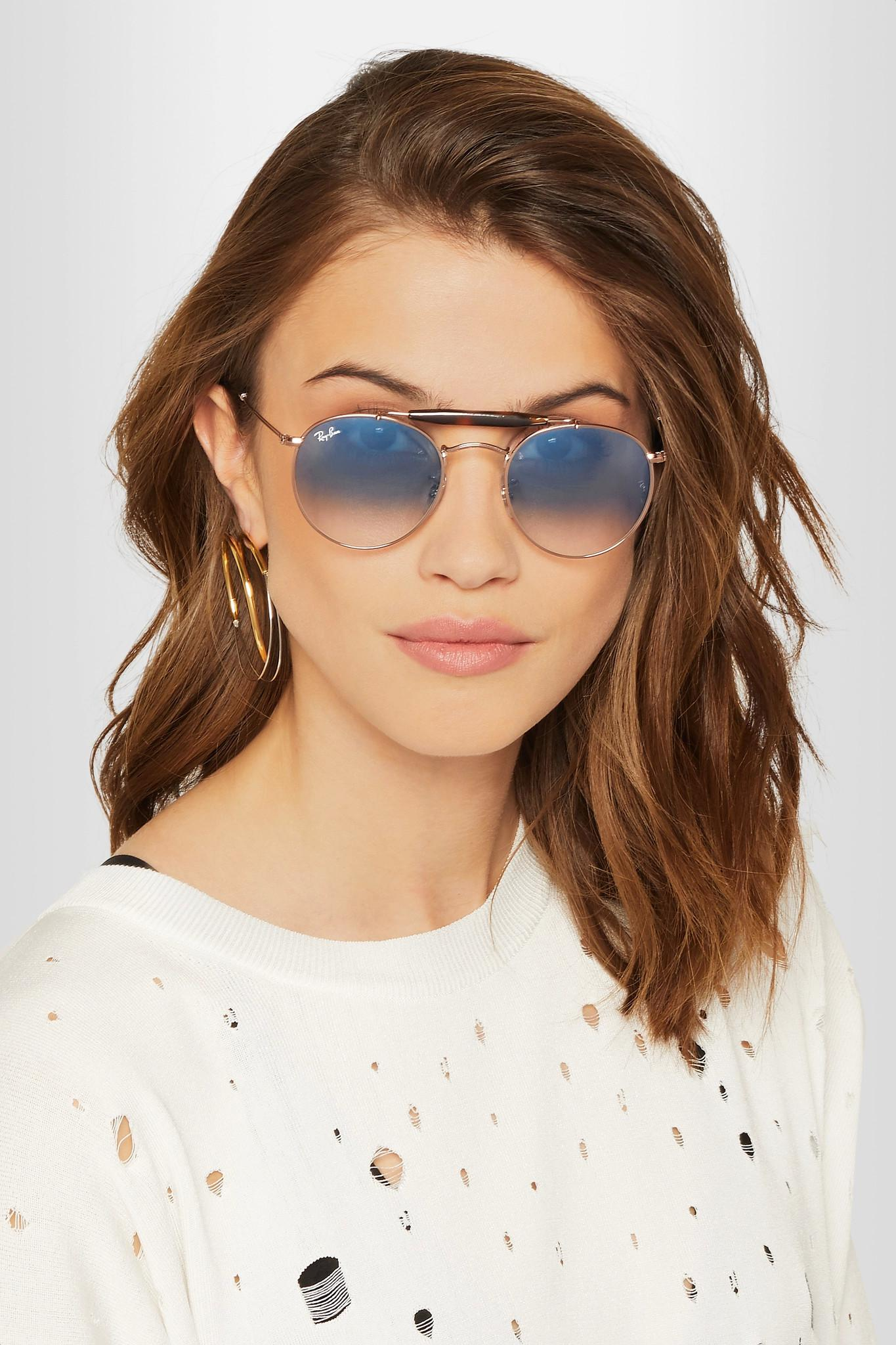 Ray Round Blue Acetate Lyst Frame Sunglasses Tone Gold And Ban In Rose OrTqx5O7