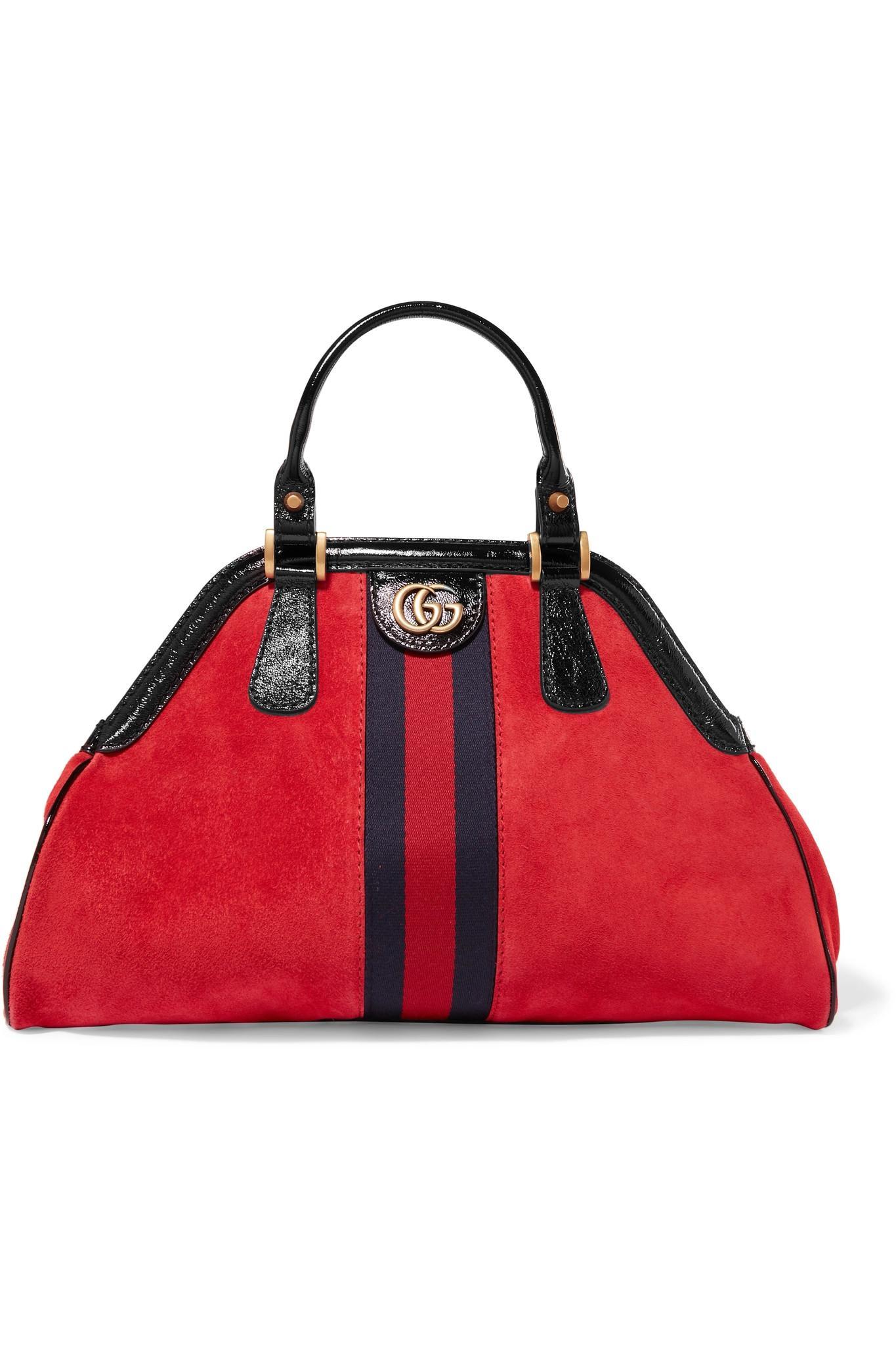 Gucci. Sac À Main En Daim Et En Cuir Verni Re(belle) Small femme de coloris  rouge d7481087bdf